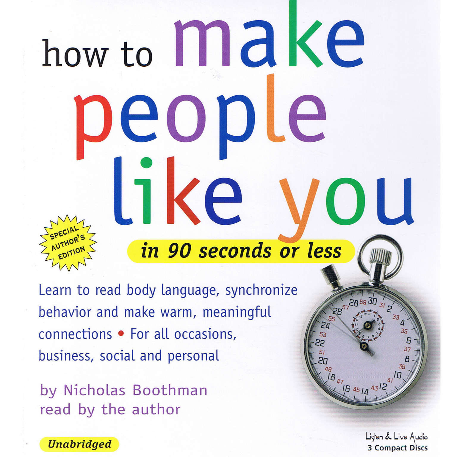 Printable How to Make People Like You in 90 Seconds or Less Audiobook Cover Art