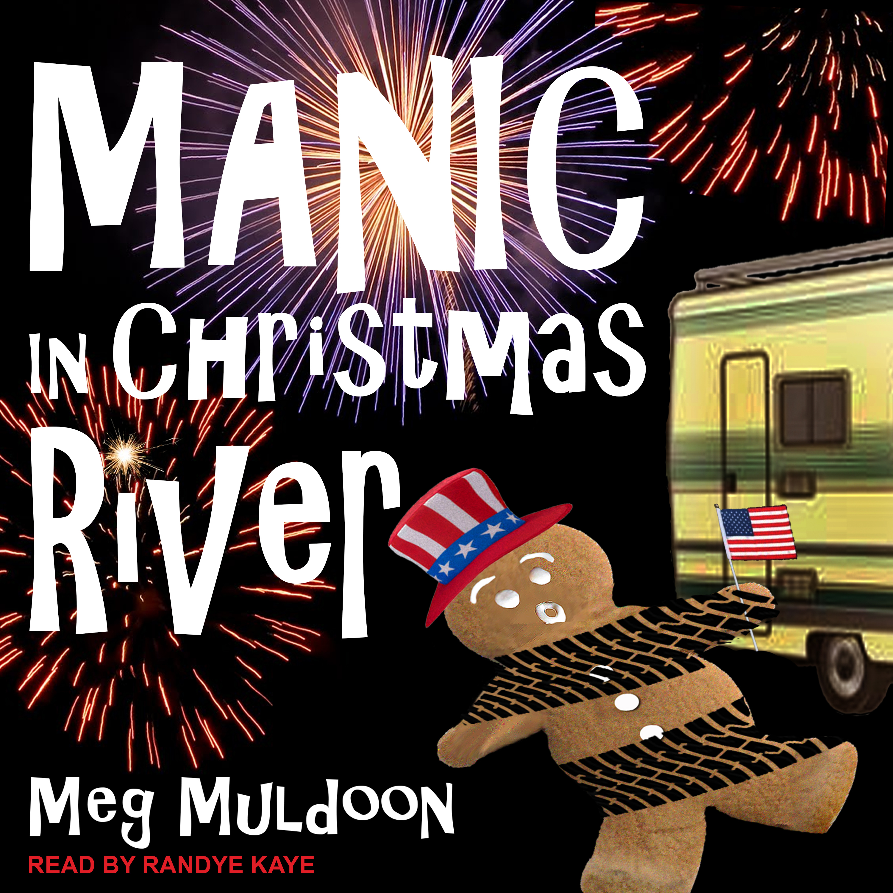 Printable Manic in Christmas River: A Christmas Cozy Mystery Audiobook Cover Art