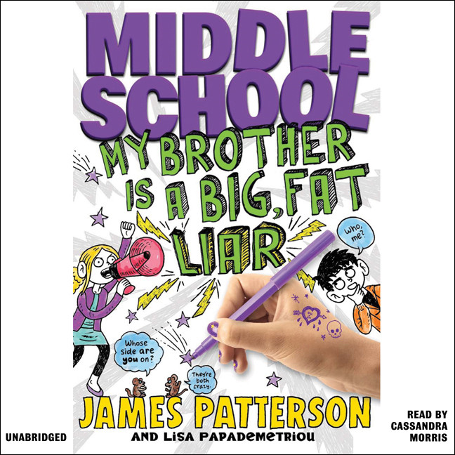 Printable Middle School: My Brother Is a Big, Fat Liar Audiobook Cover Art