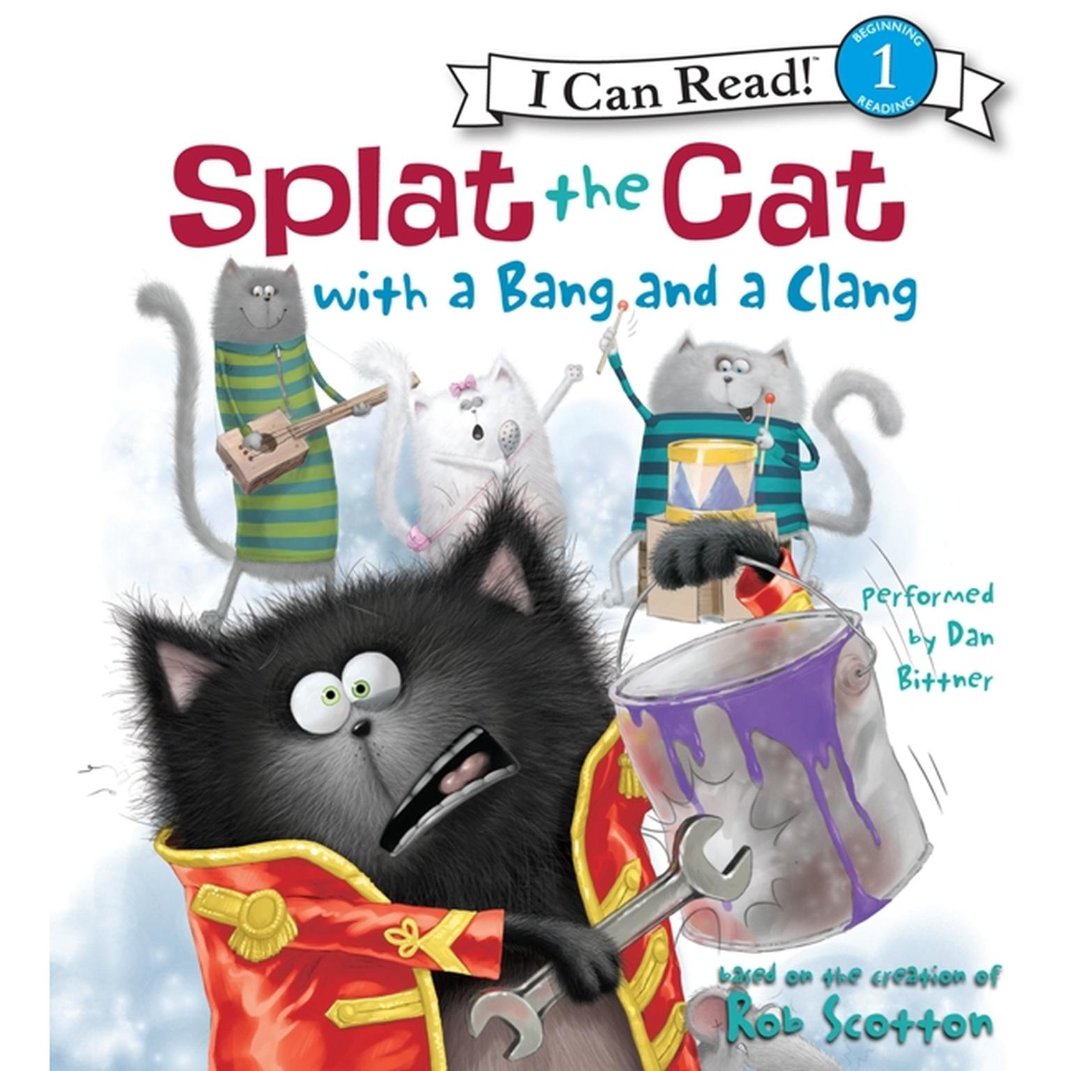 Printable Splat the Cat with a Bang and a Clang Audiobook Cover Art