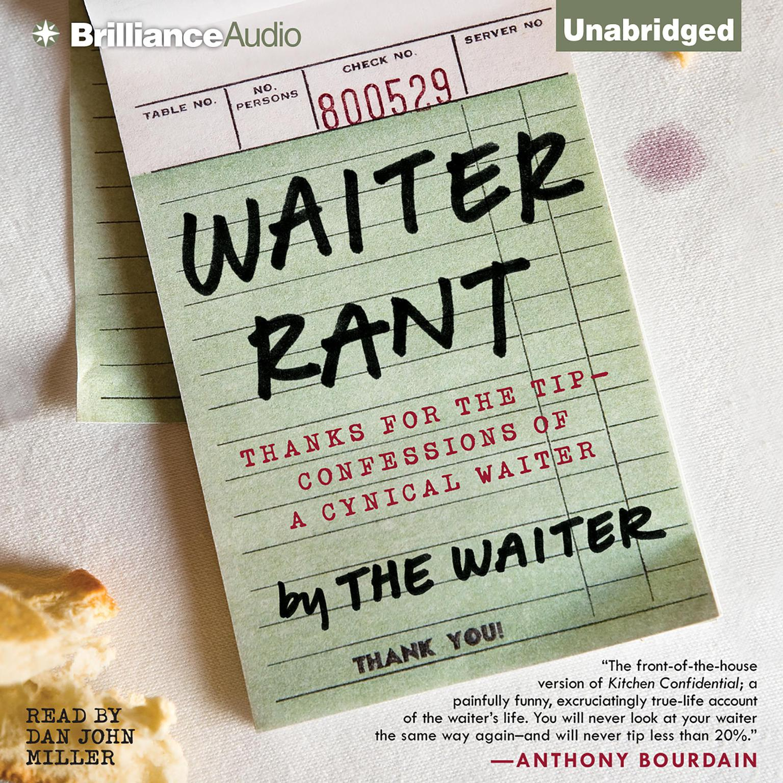 Printable Waiter Rant: Thanks for the Tip—Confessions of a Cynical Waiter Audiobook Cover Art
