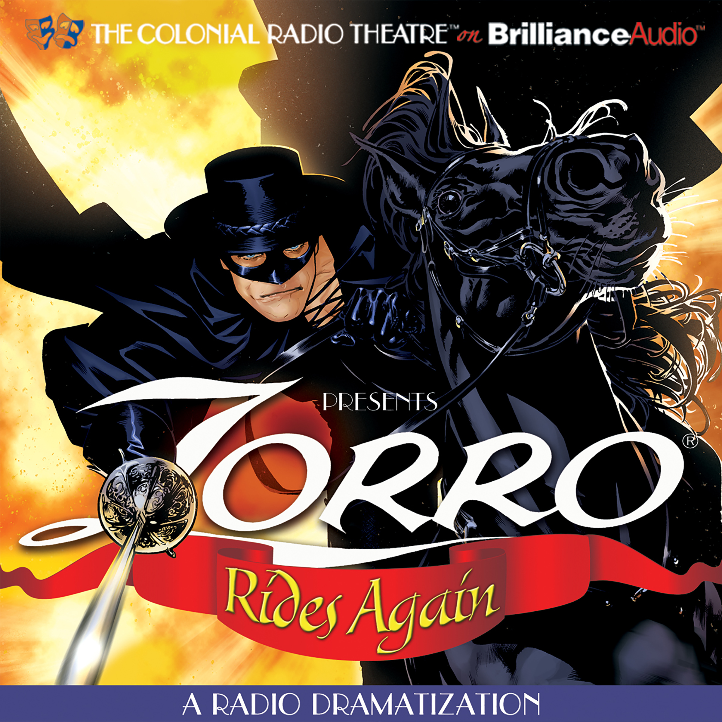 Printable Zorro Rides Again: A Radio Dramatization Audiobook Cover Art