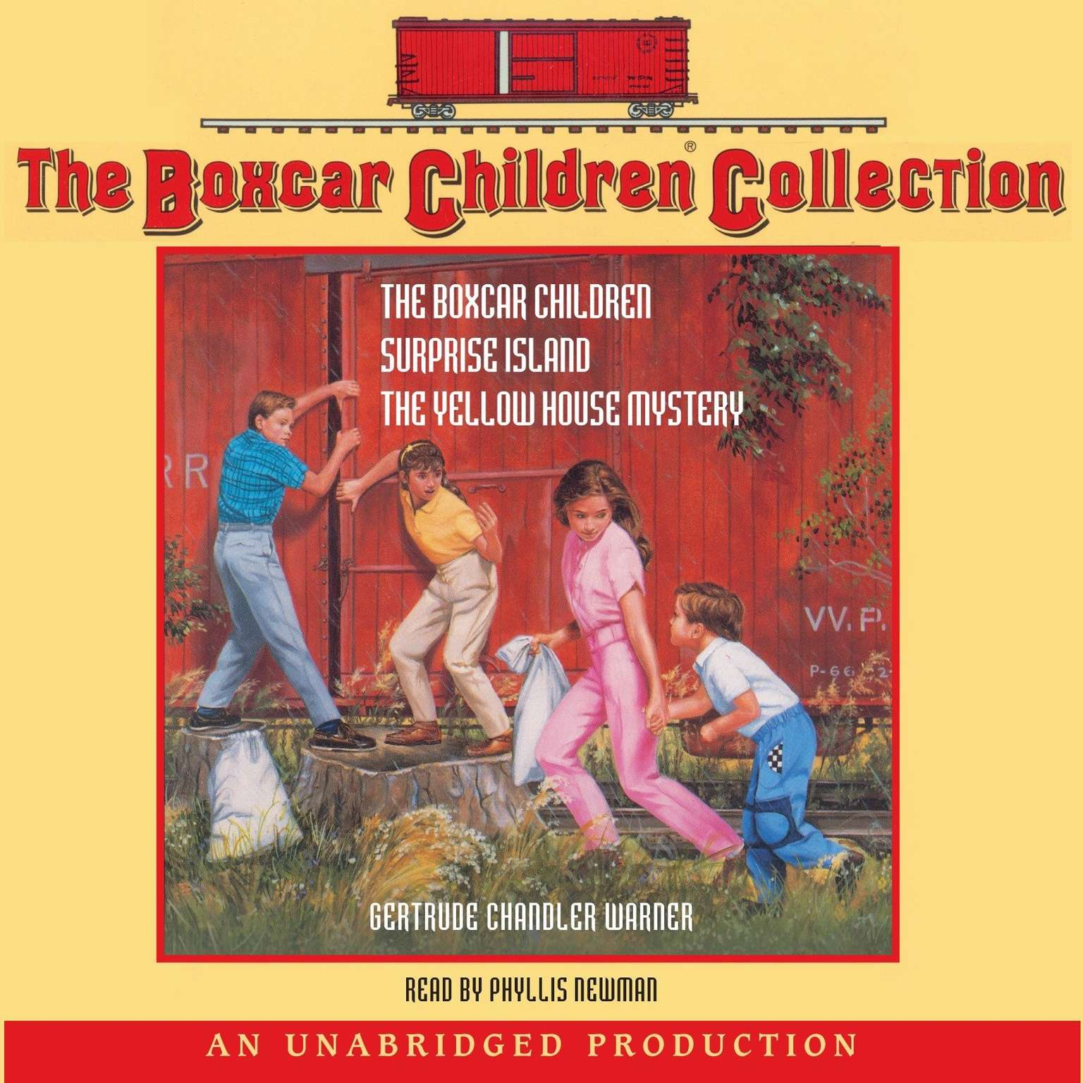 Printable The Boxcar Children Collection: #1: The Boxcar Children; #2: Surprise Island; #3: The Yellow House Mystery Audiobook Cover Art