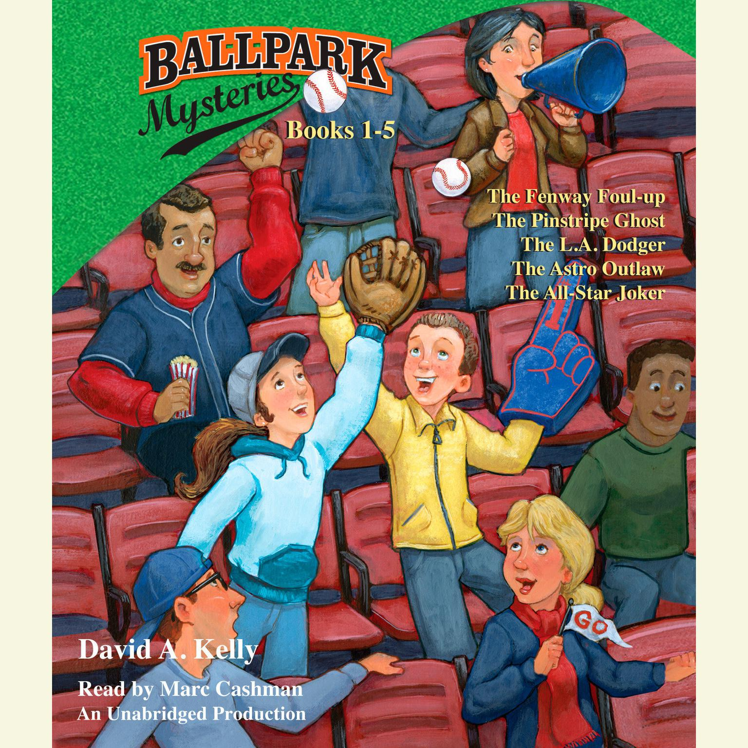 Printable Ballpark Mysteries Collection: #1 The Fenway Foul-up; #2 The Pinstripe Ghost; #3 The L.A. Dodger; #4 The Astro Outlaw; #5 The All-Star Joker Audiobook Cover Art