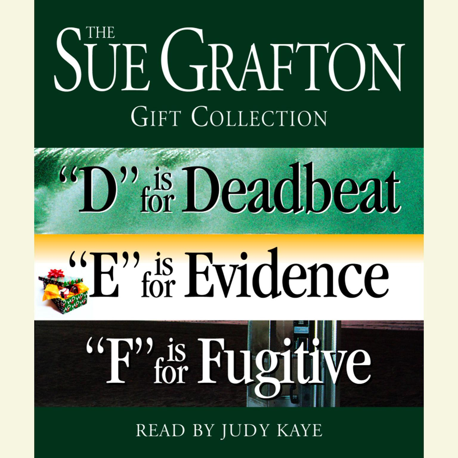 Printable Sue Grafton DEF Gift Collection: 'D' Is for Deadbeat, 'E' Is for Evidence, 'F' Is for Fugitive Audiobook Cover Art