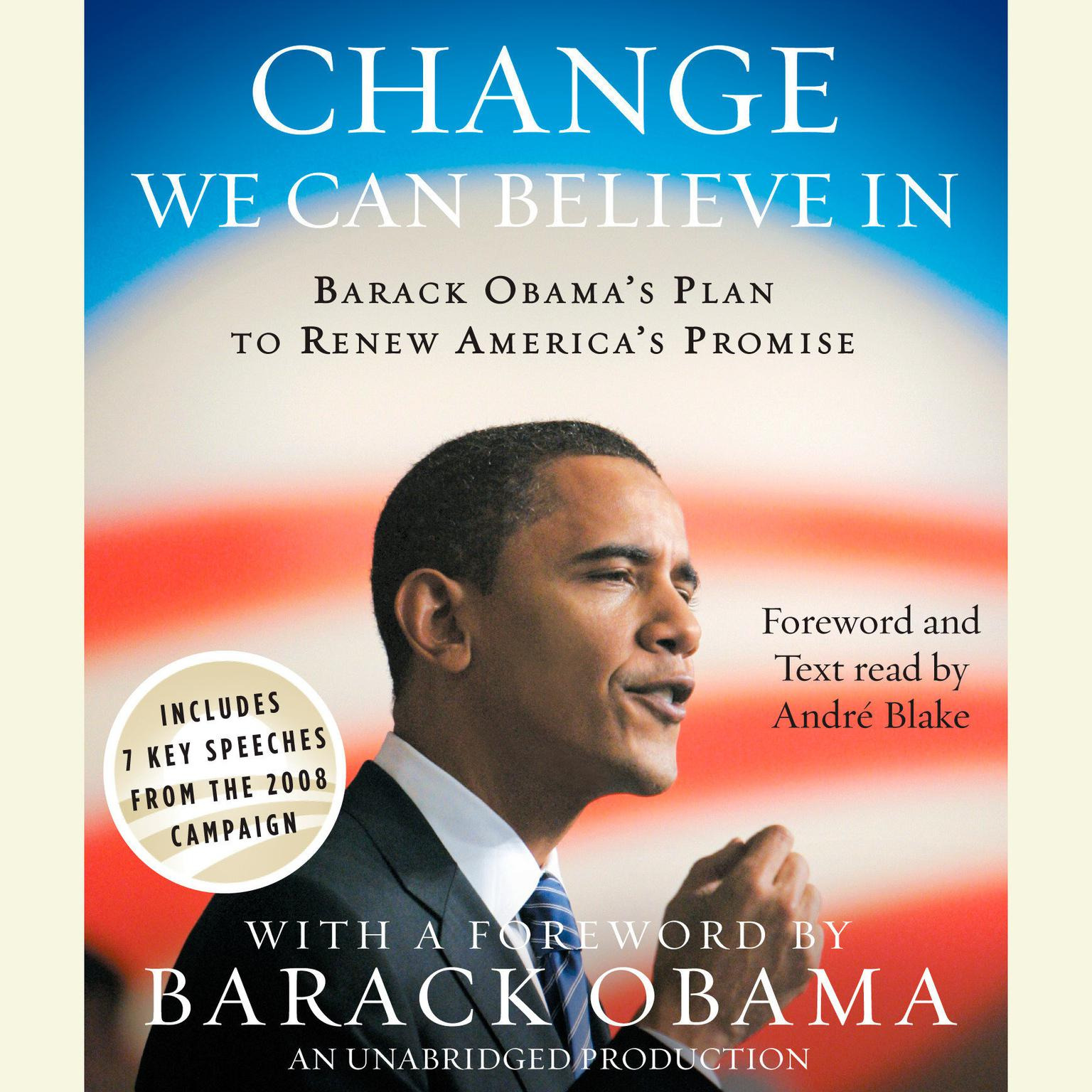 Printable Change We Can Believe In: Barack Obama's Plan to Renew America's Promise Audiobook Cover Art