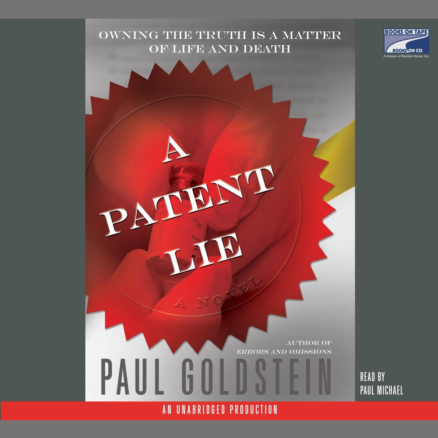 Printable A Patent Lie: A Novel Audiobook Cover Art