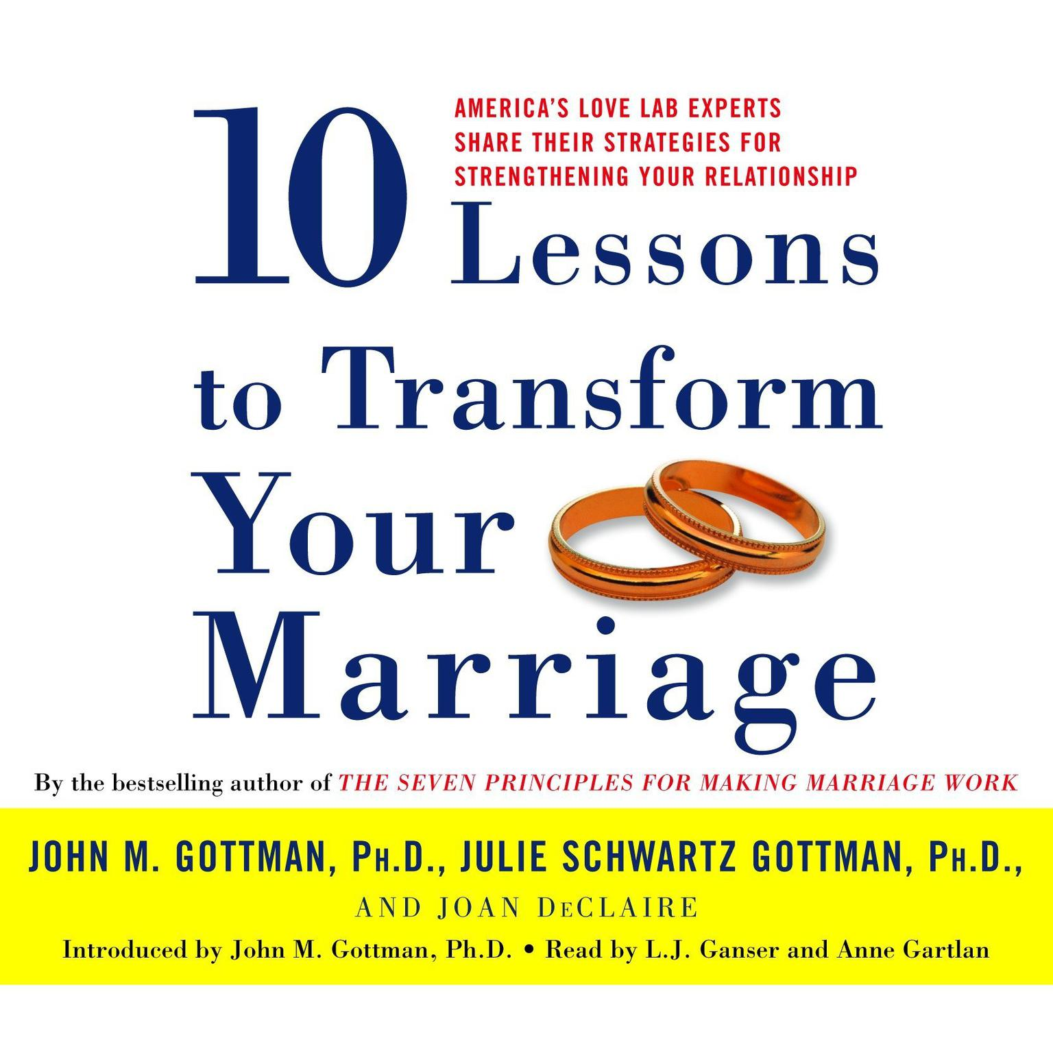 Printable Ten Lessons To Transform Your Marriage: America's Love Lab Experts Share Their Strategies for Strengthening Your Relationship Audiobook Cover Art