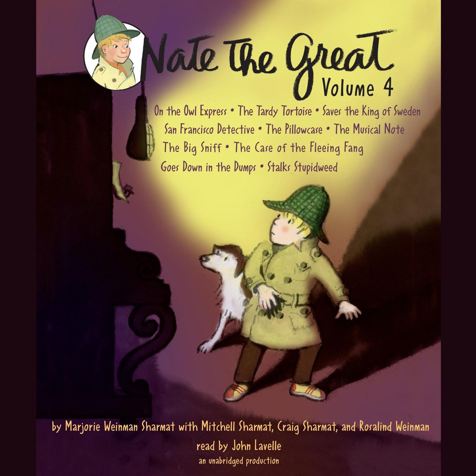 Printable Nate the Great Collected Stories: Volume 4: Owl Express; Tardy Tortoise; King of Sweden; San Francisco Detective; Pillowcase ; Musical Note; Big Sniff; and Me; Goes Down in the Dumps; Stalks Stupidweed Audiobook Cover Art