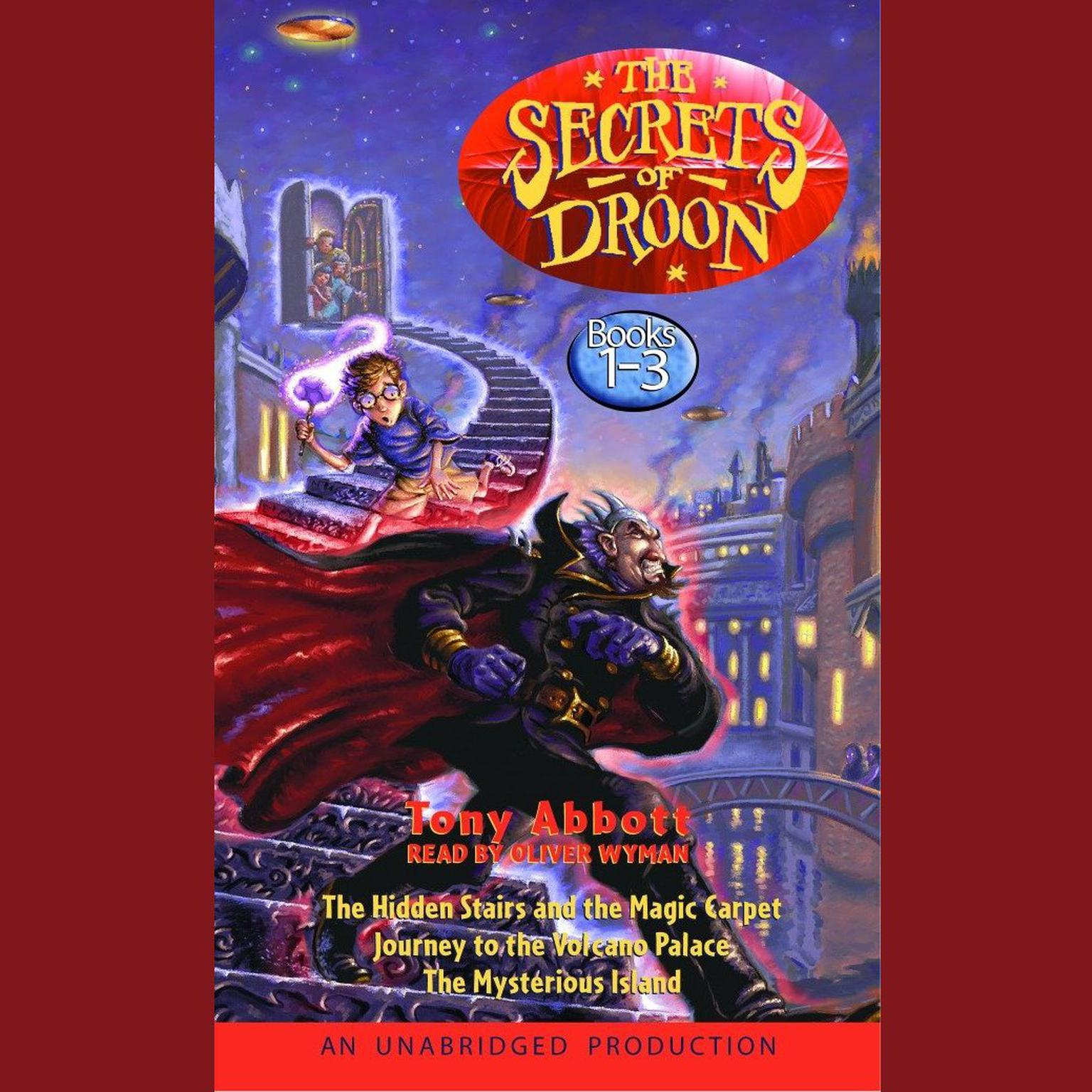 Printable The Secrets of Droon: Volume 1: #1:The Hidden Stairs and the Magic Carpet; #2:Journey to the Volcano Palace; #3: The Mysterious Island Audiobook Cover Art