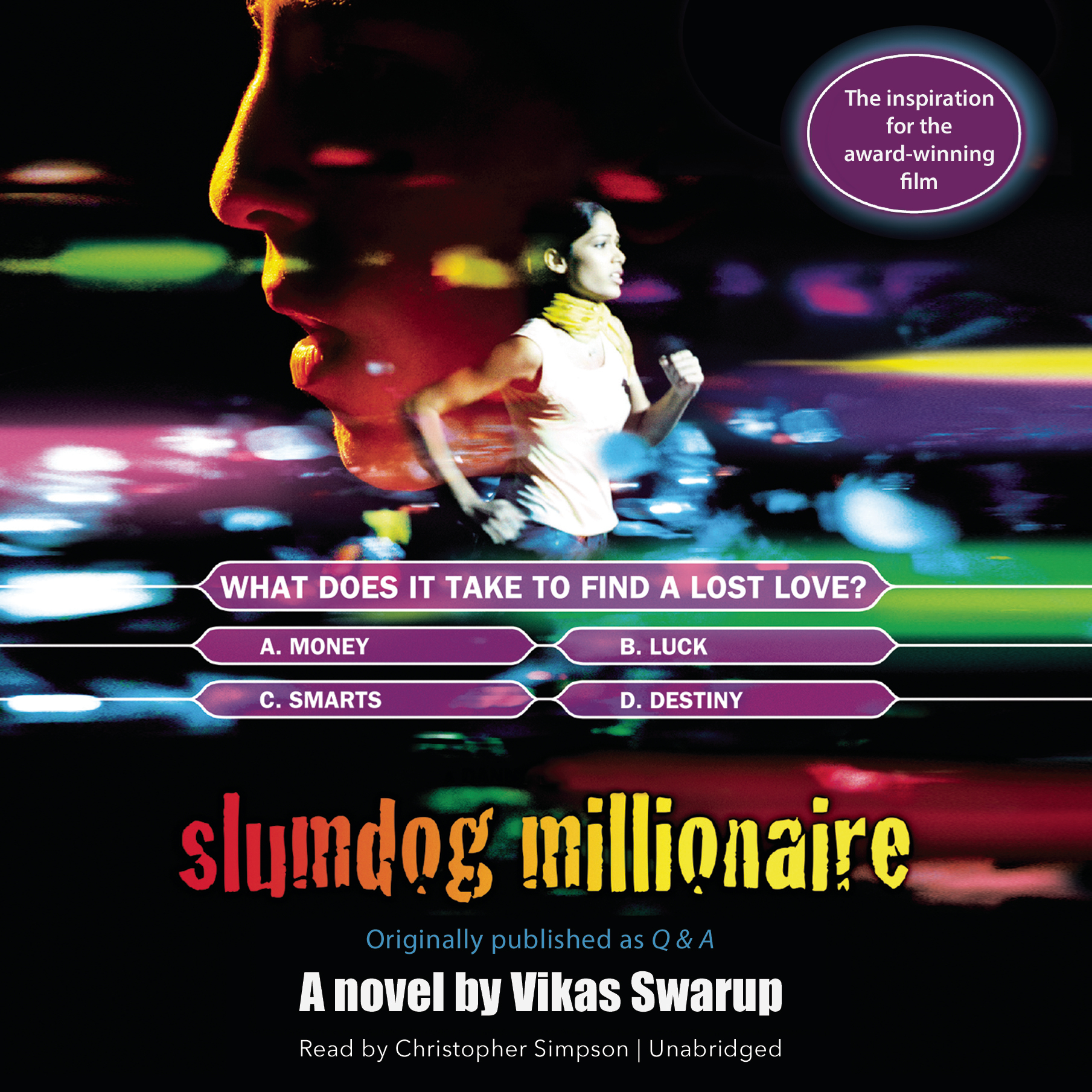 Printable Slumdog Millionaire: Originally published as Q & A Audiobook Cover Art