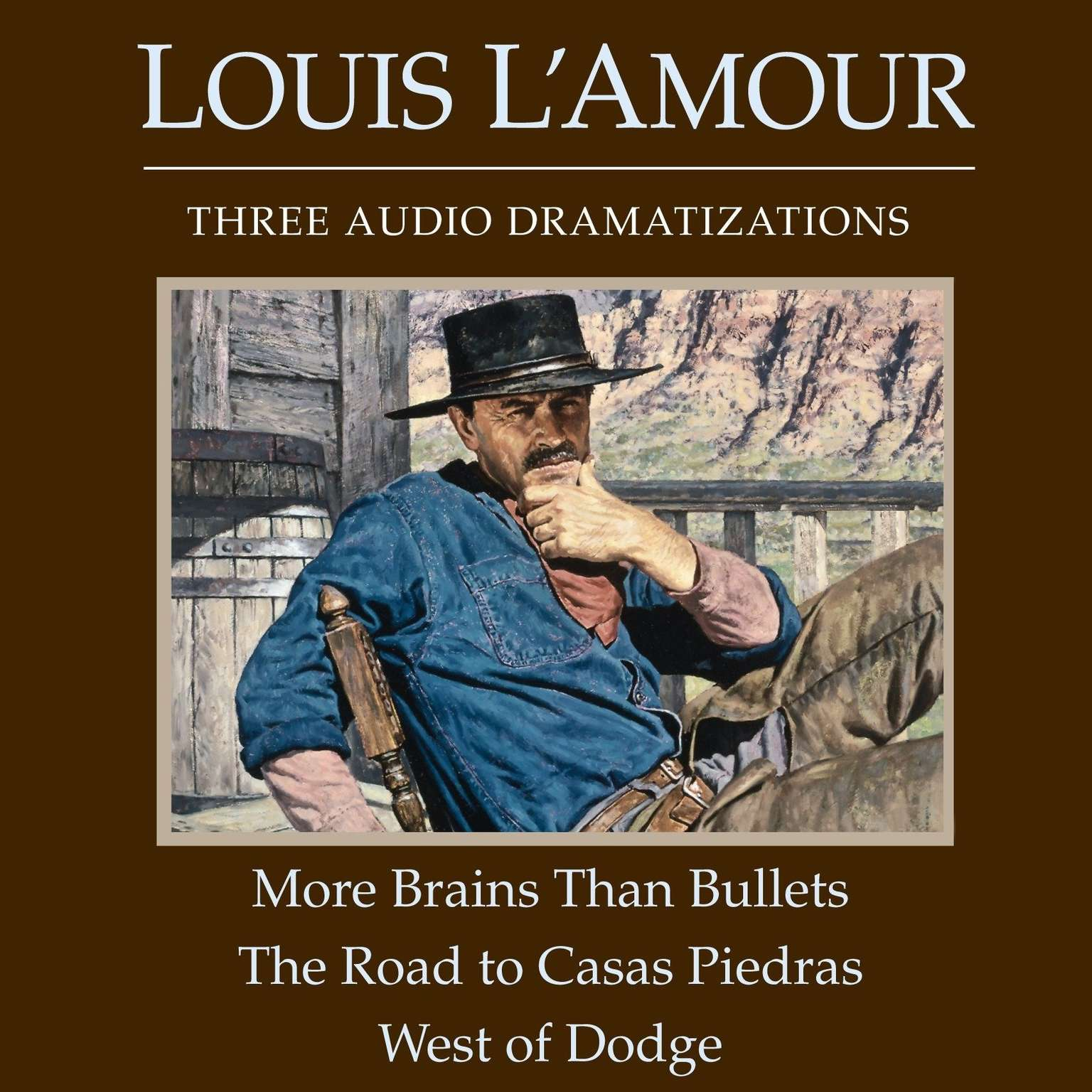 Printable More Brains Than Bullets / The Road to Casas Piedras / West of Dodge Audiobook Cover Art