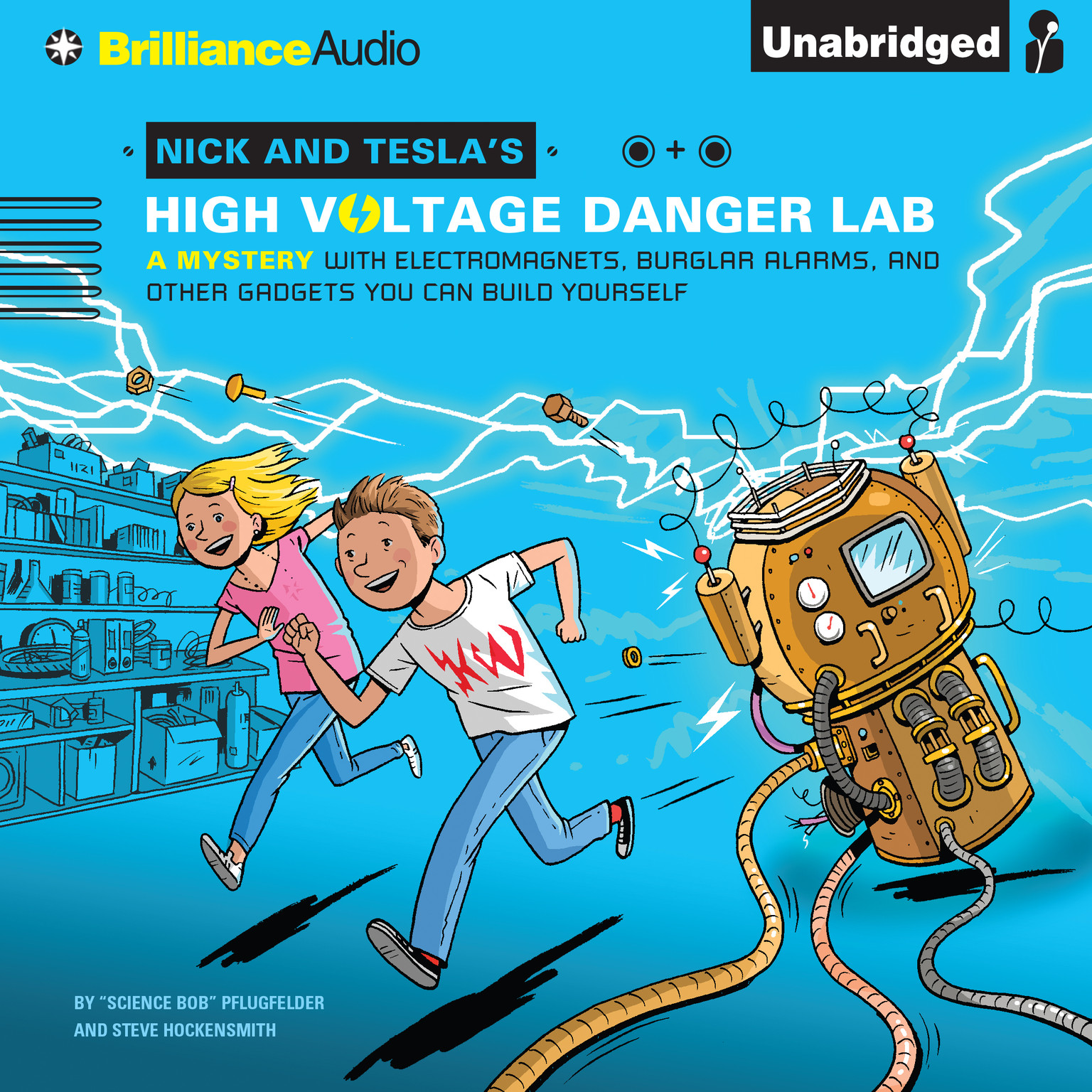 Printable Nick and Tesla's High-Voltage Danger Lab: A Mystery with Electromagnets, Burglar Alarms, and Other Gadgets You Can Build Yourself Audiobook Cover Art