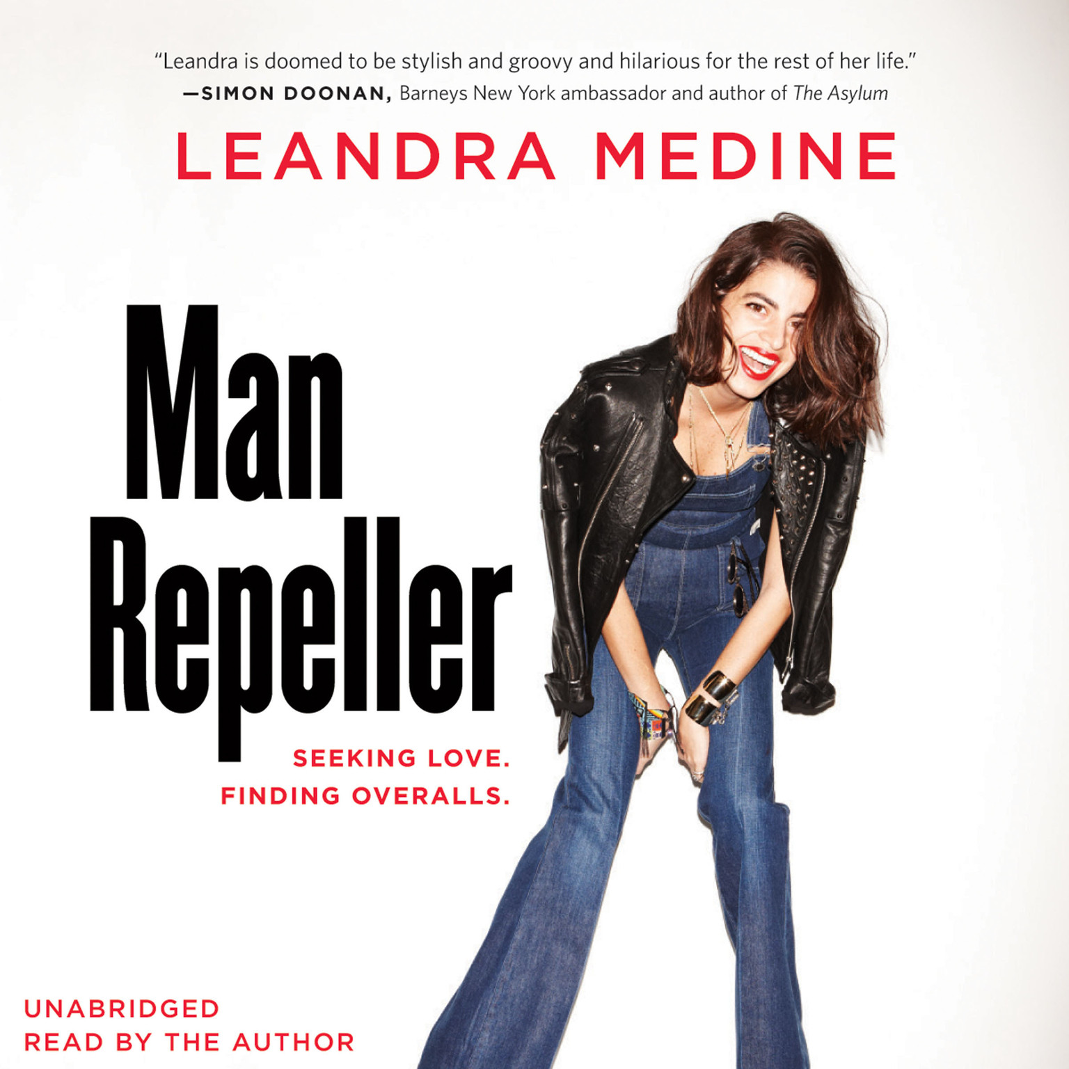 Printable Man Repeller: Seeking Love. Finding Overalls. Audiobook Cover Art