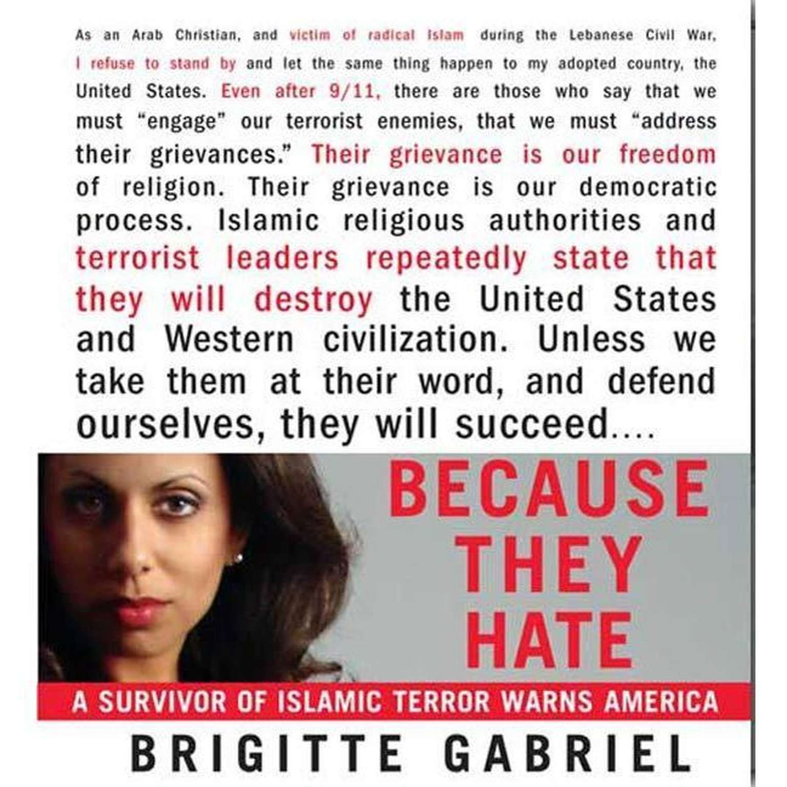 Printable Because They Hate: A Survivor of Islamic Terror Warns America Audiobook Cover Art