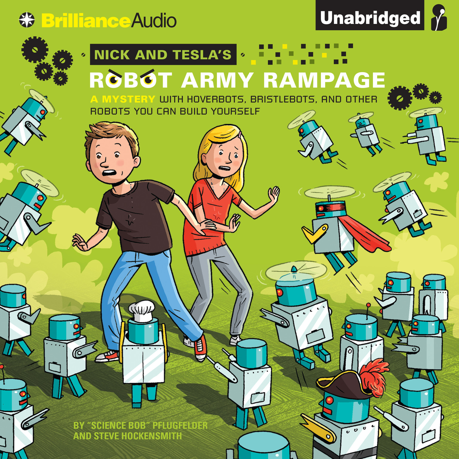 Printable Nick and Tesla's Robot Army Rampage: A Mystery with Hoverbots, Bristlebots, and Other Robots You Can Build Yourself Audiobook Cover Art