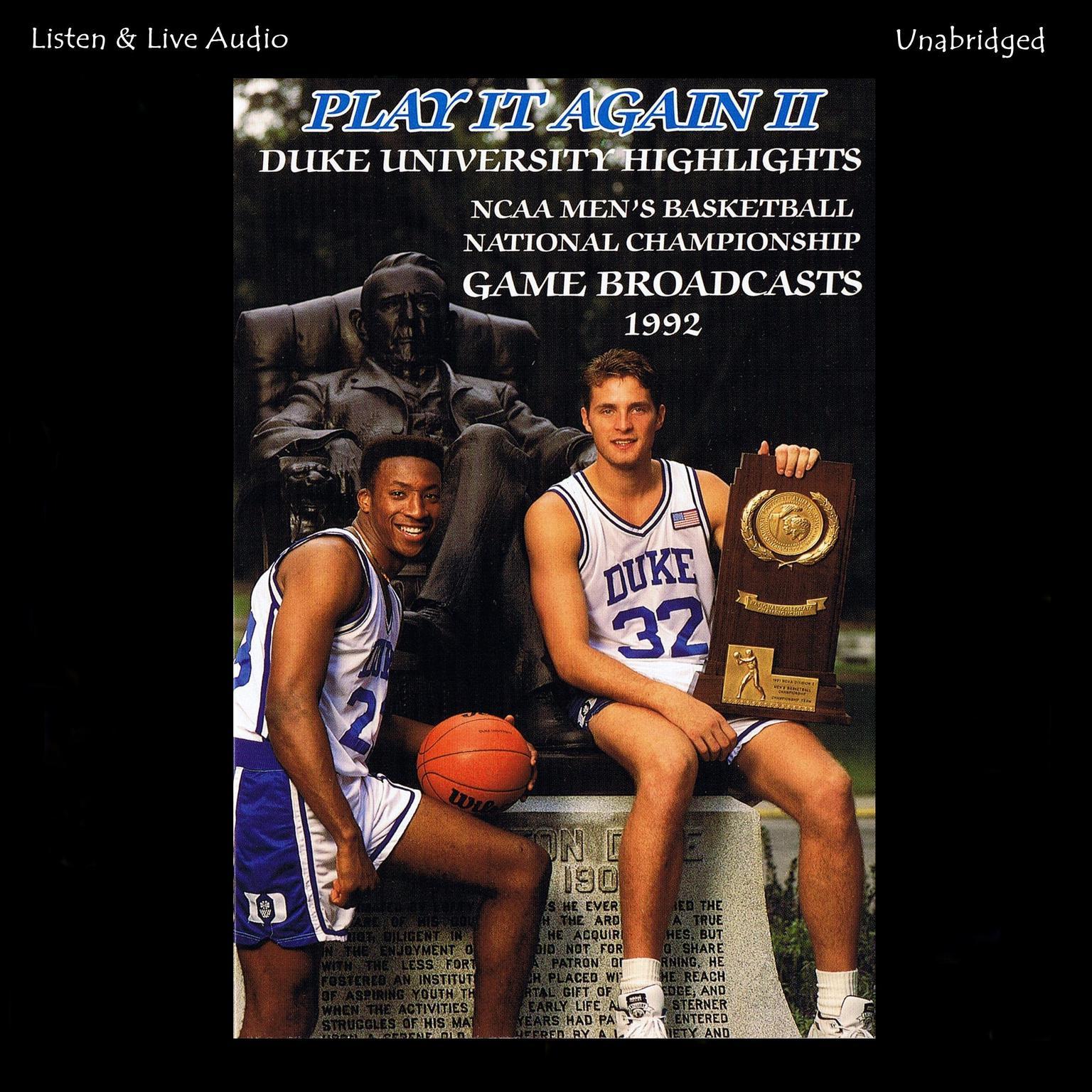Printable Play It Again II!: Duke University's 1992 NCAA Men's Basketball National Championship Run Audiobook Cover Art