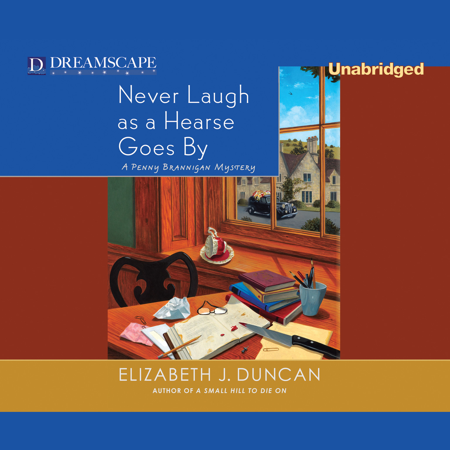 Printable Never Laugh As a Hearse Goes By Audiobook Cover Art