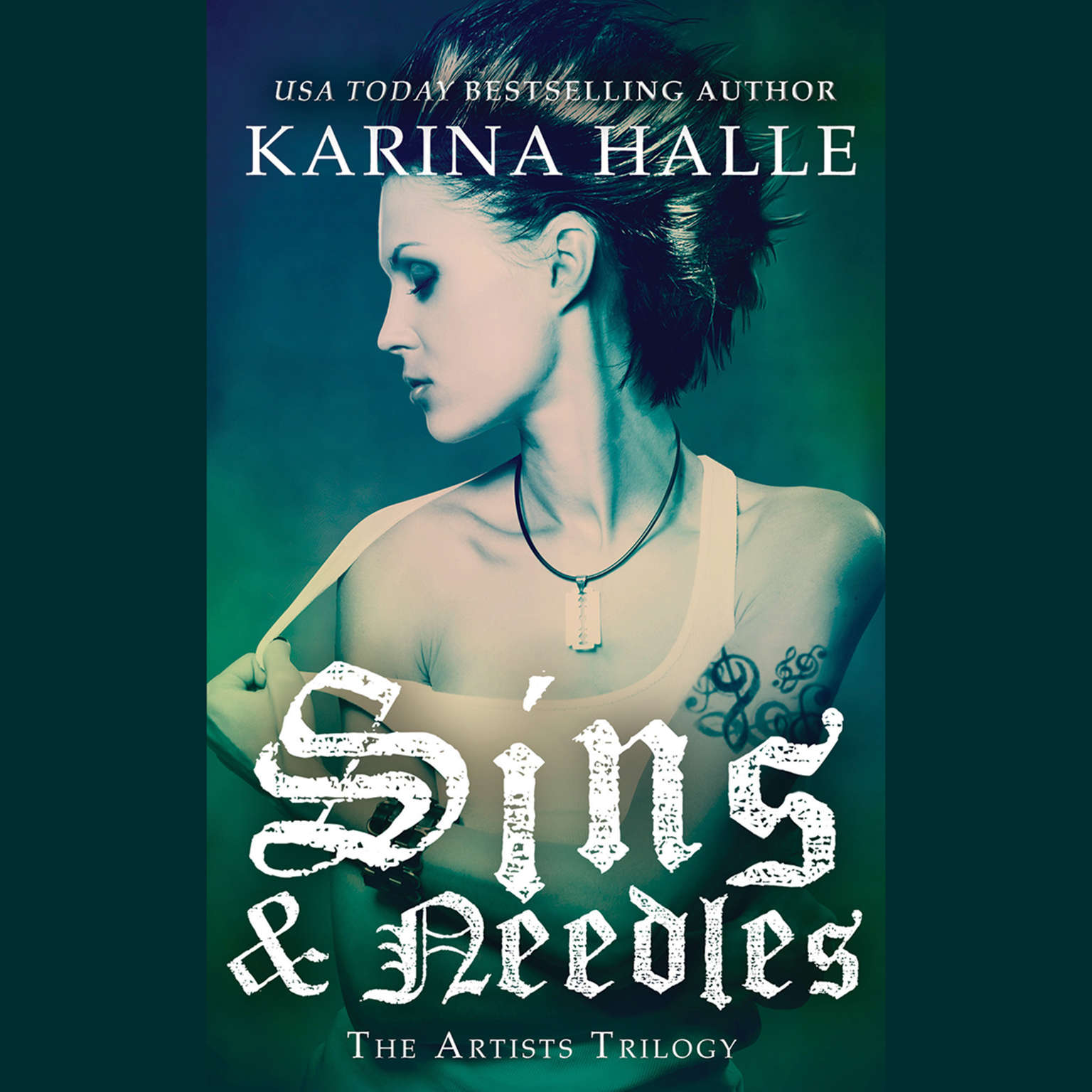 Printable Sins and Needles Audiobook Cover Art