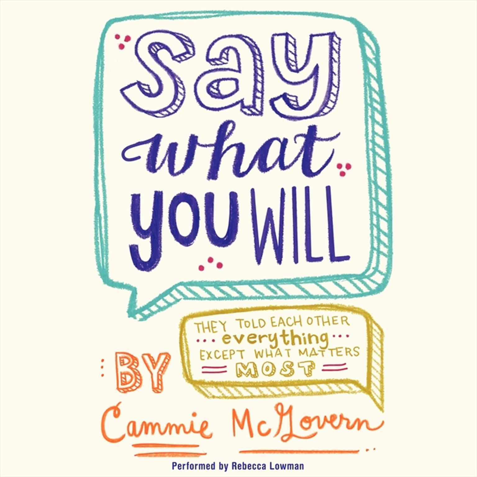 Printable Say What You Will Audiobook Cover Art