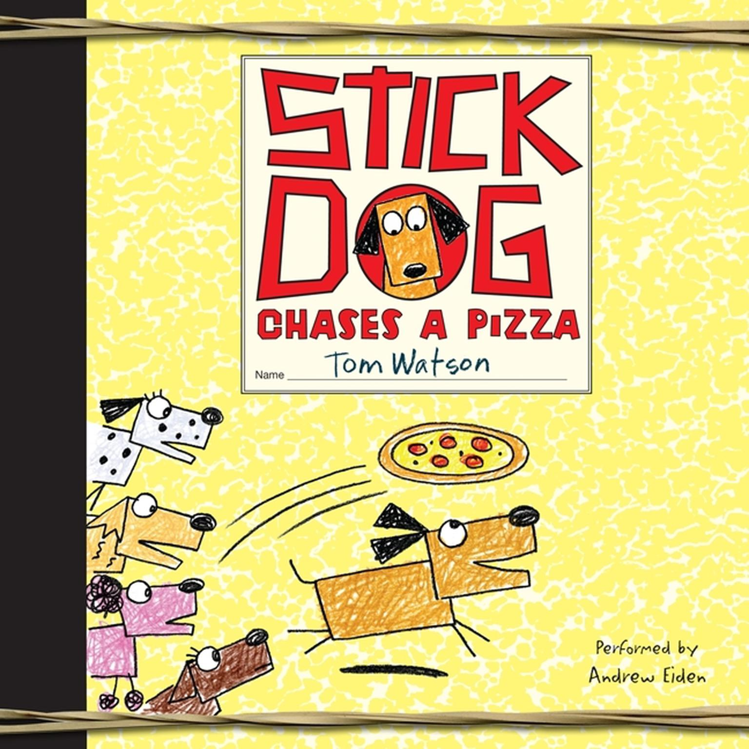 Printable Stick Dog Chases a Pizza Audiobook Cover Art