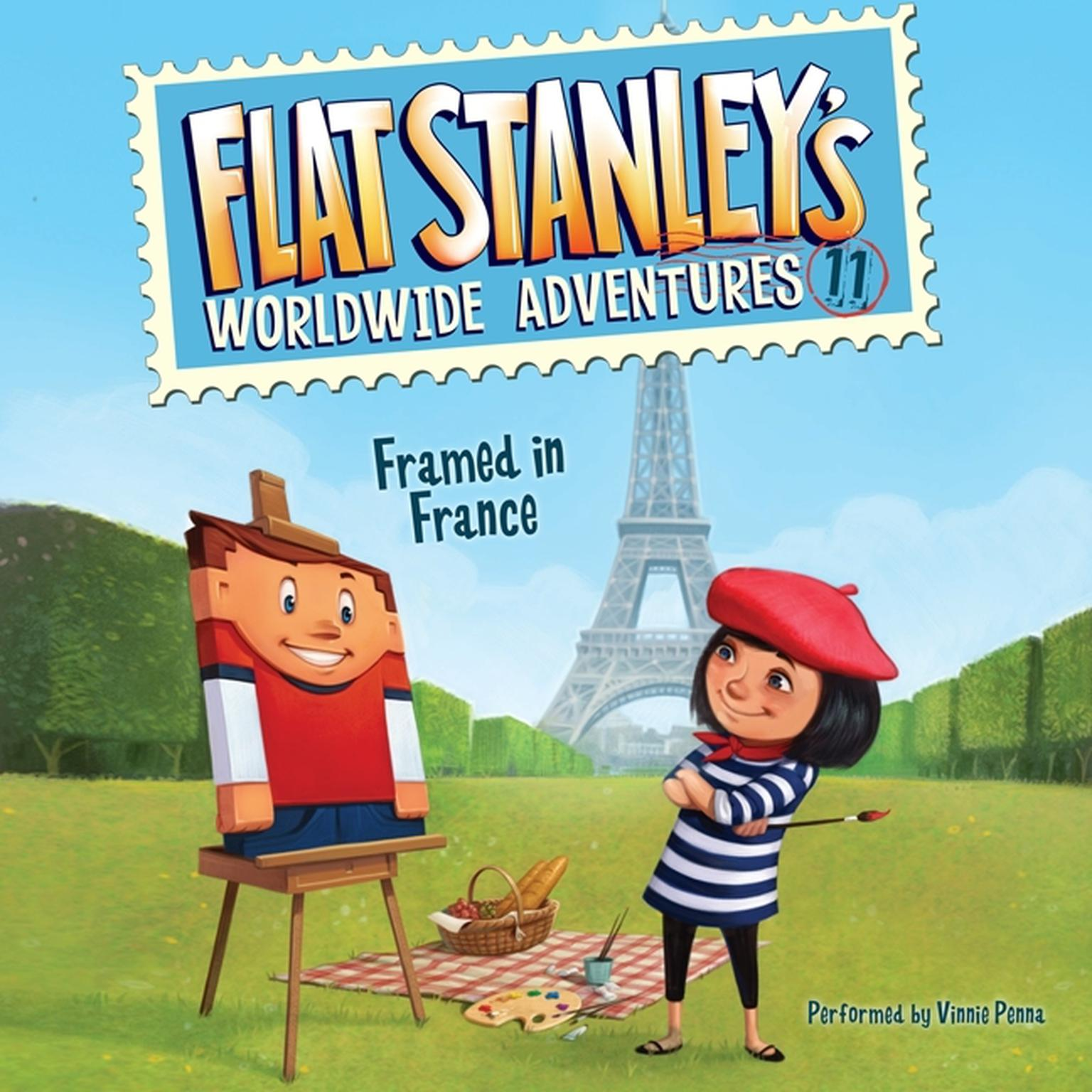 Printable Flat Stanley's Worldwide Adventures #11: Framed in France Audiobook Cover Art