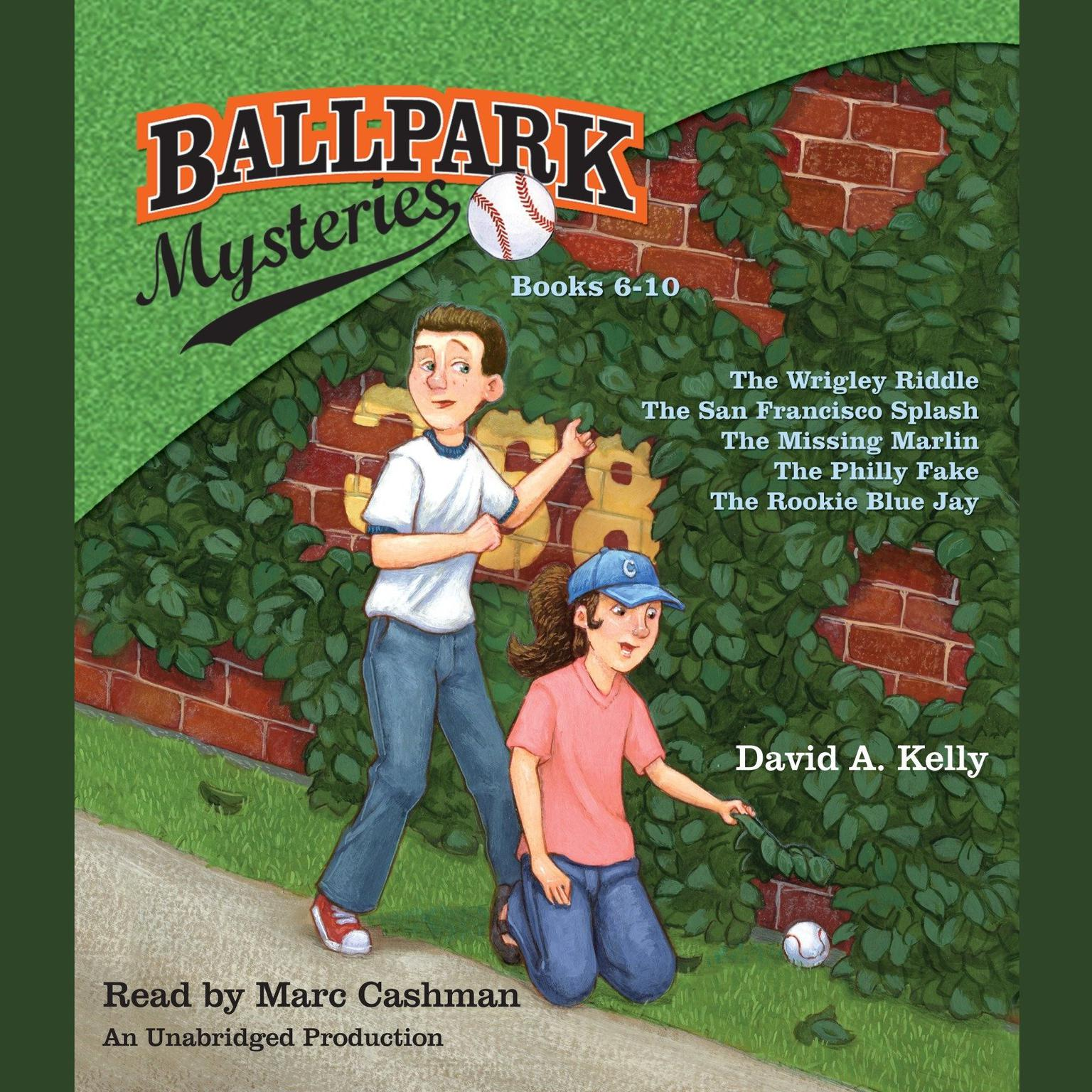 Printable Ballpark Mysteries Collection, Books 6–10: The Wrigley Riddle, The San Francisco Splash, The Missing Marlin, The Philly Fake, The Rookie Blue Jay Audiobook Cover Art