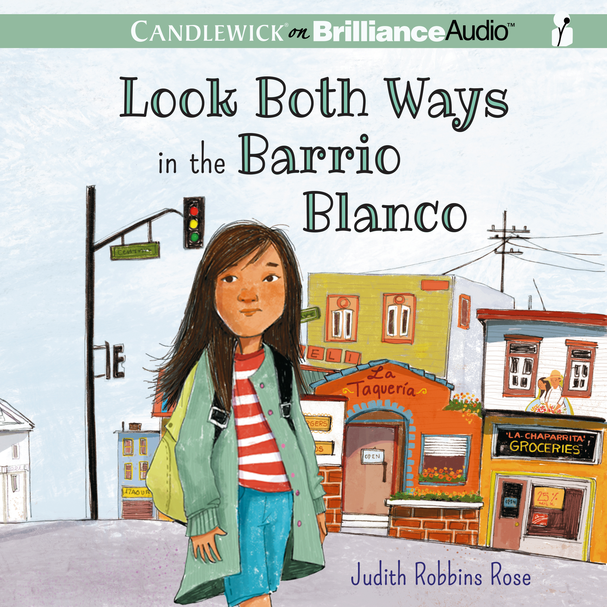 Printable Look Both Ways in the Barrio Blanco Audiobook Cover Art