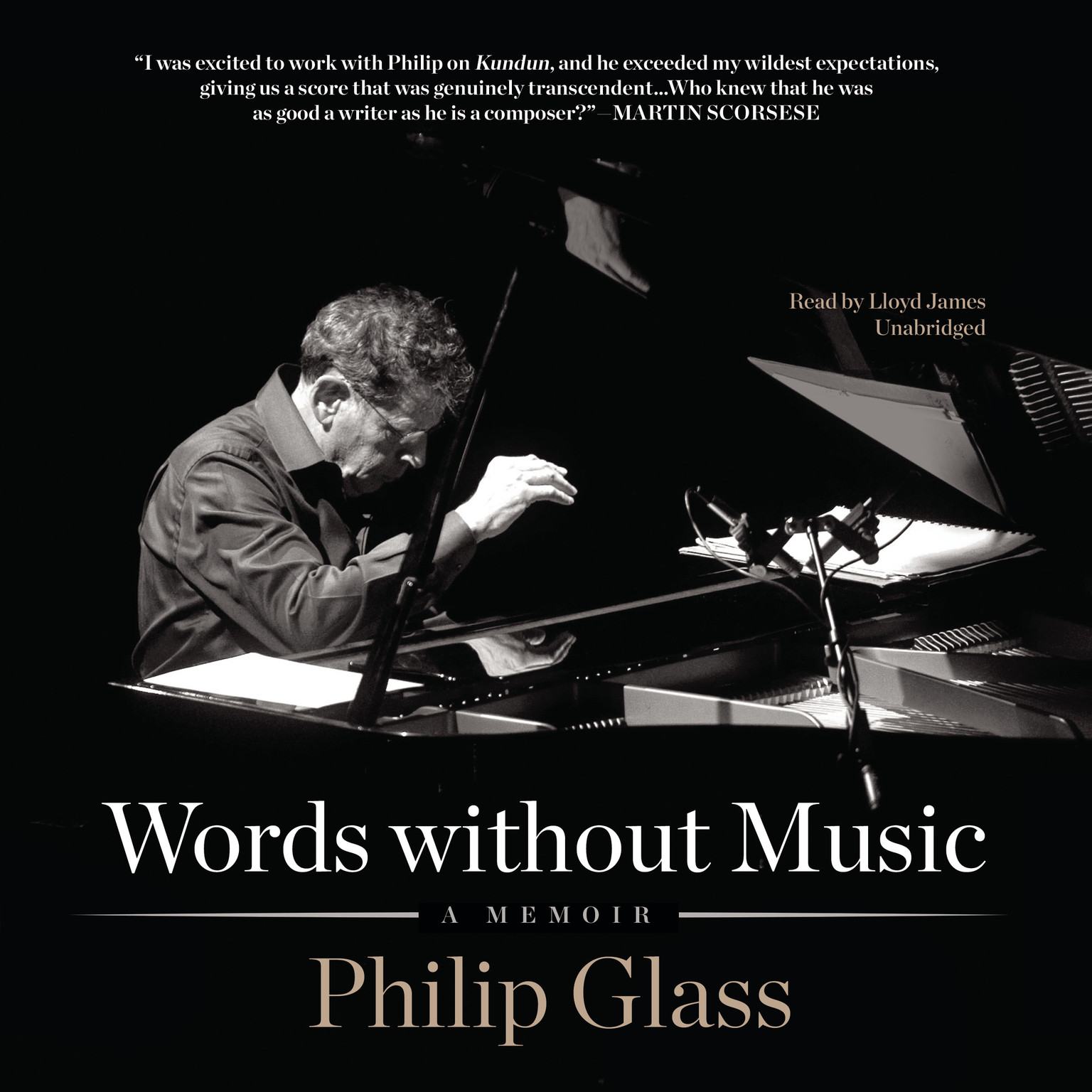 Printable Words without Music: A Memoir Audiobook Cover Art