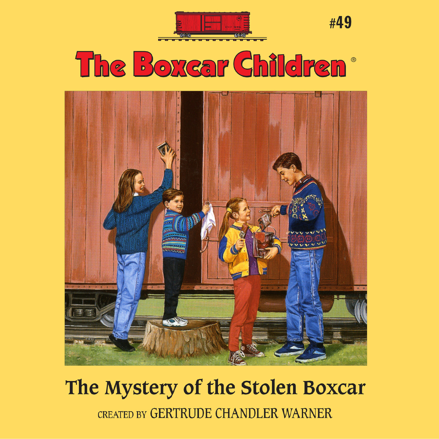 Printable The Mystery of the Stolen Boxcar Audiobook Cover Art