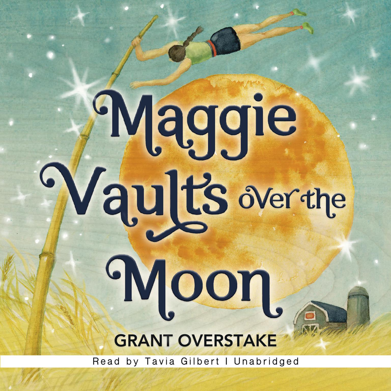 Printable Maggie Vaults Over the Moon Audiobook Cover Art