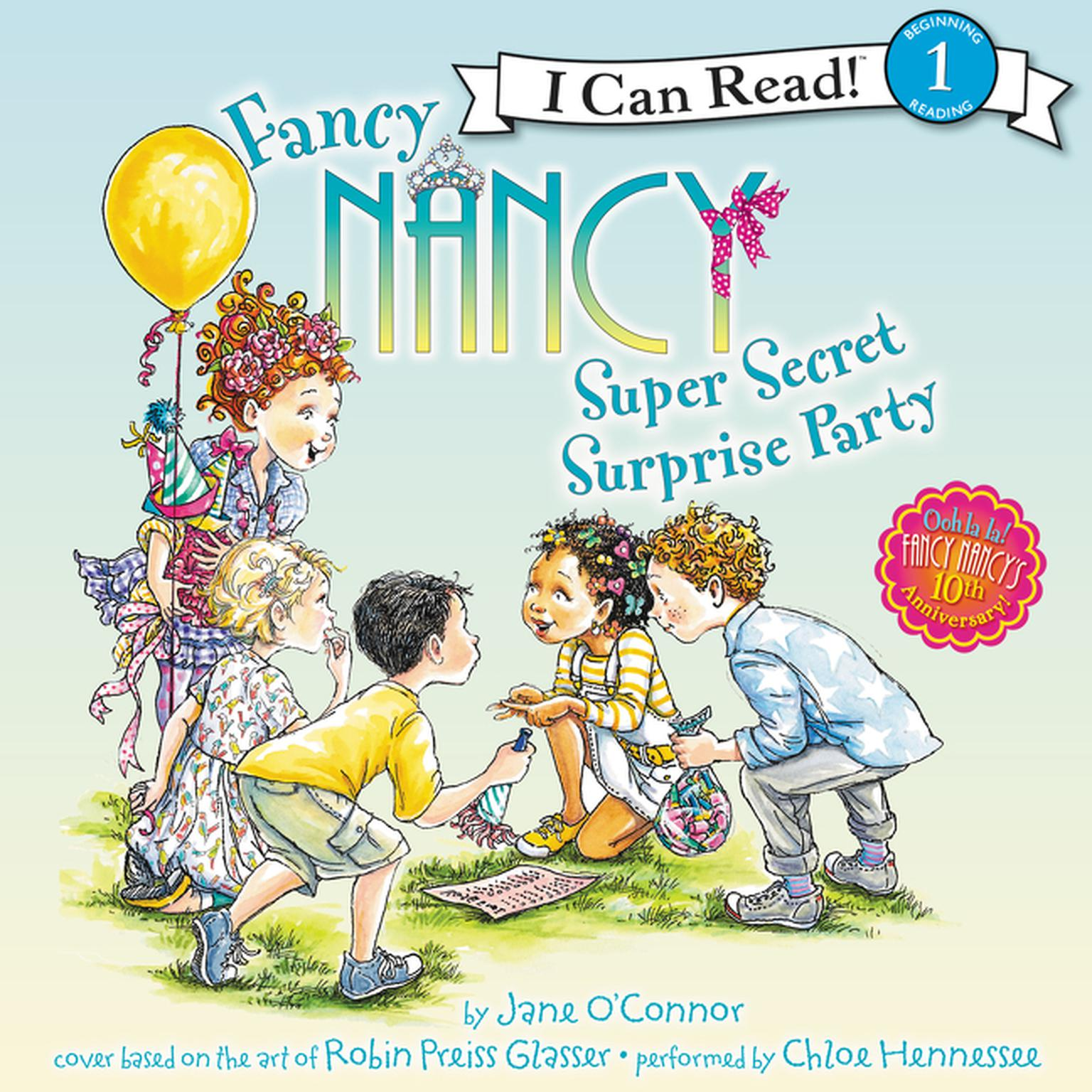 Printable Fancy Nancy: Super Secret Surprise Party Audiobook Cover Art