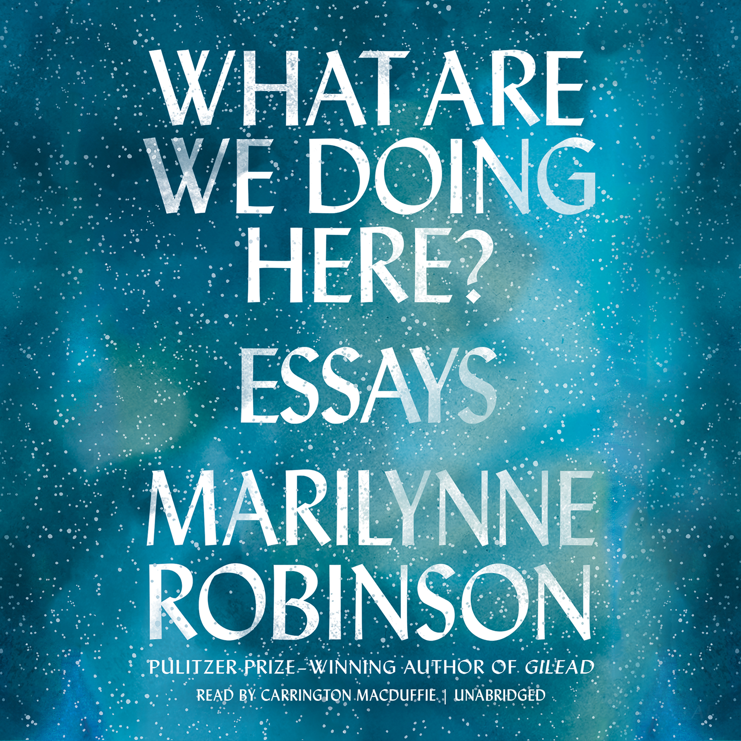 Printable What Are We Doing Here?: Essays Audiobook Cover Art