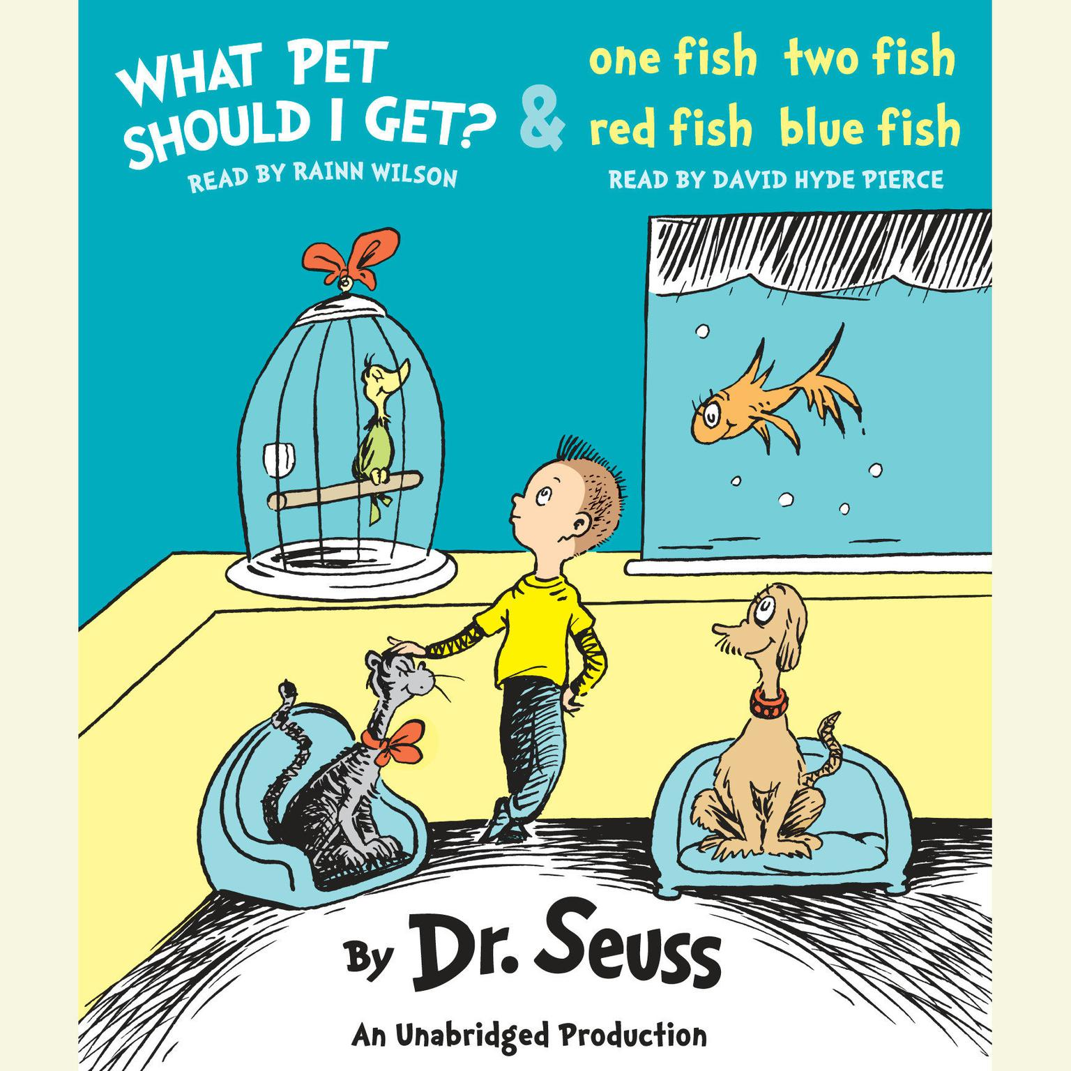Printable What Pet Should I Get? and One Fish Two Fish Red Fish Blue Fish Audiobook Cover Art
