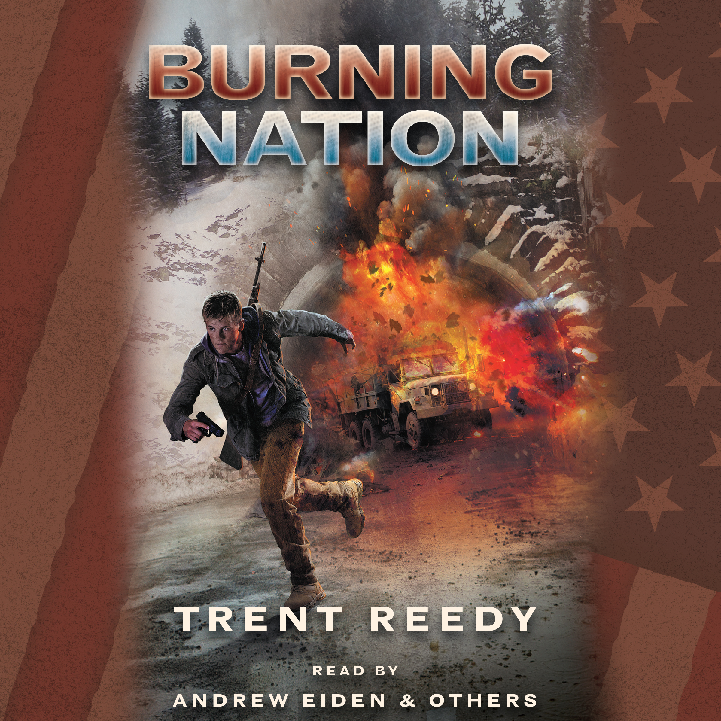 Printable Burning Nation: Book 2 of Divided We Fall Audiobook Cover Art