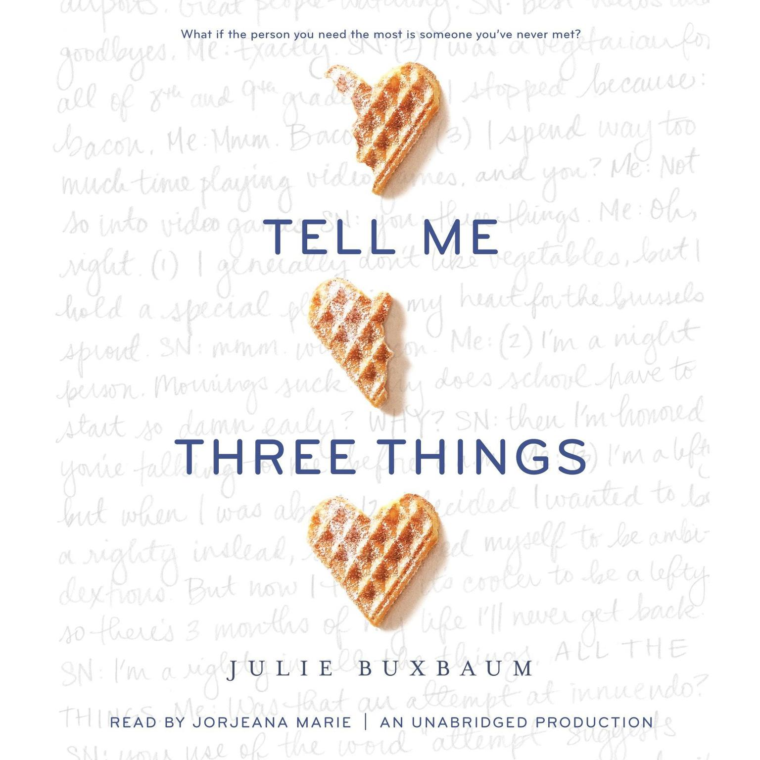 Printable Tell Me Three Things Audiobook Cover Art