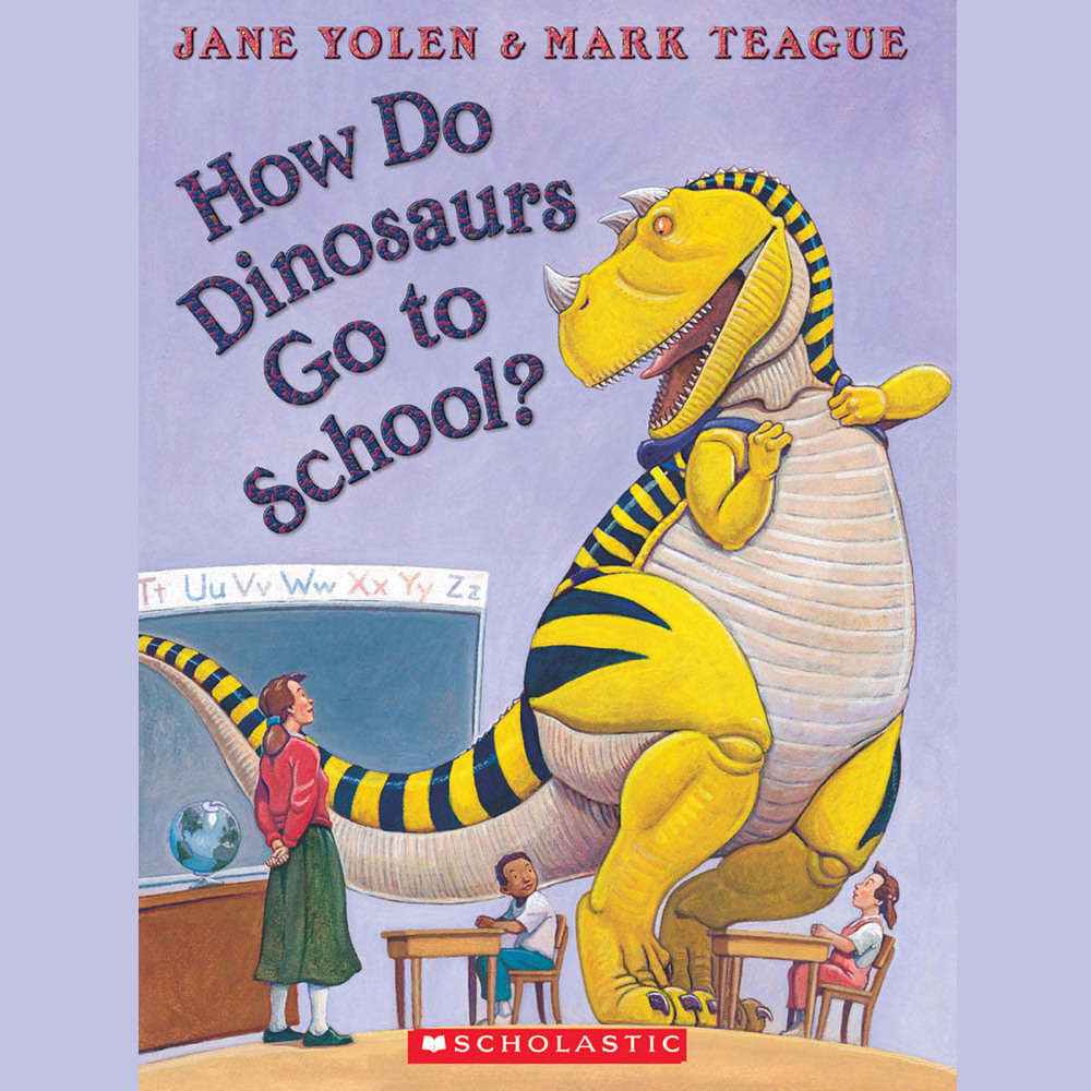 Printable How Do Dinosaurs Go To School? Audiobook Cover Art