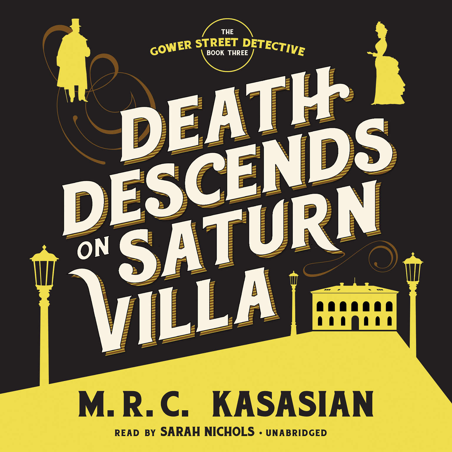 Printable Death Descends on Saturn Villa Audiobook Cover Art