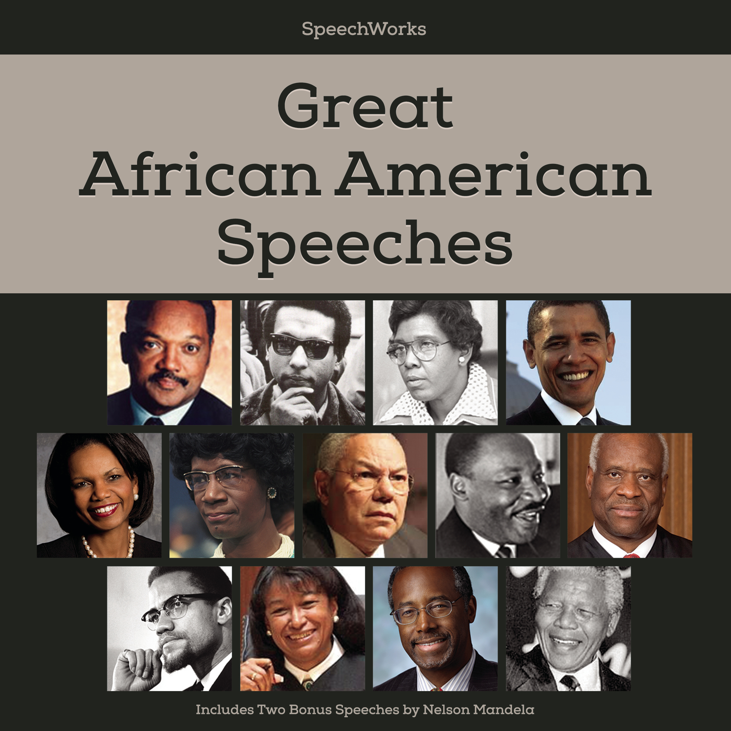 Printable Great African American Speeches: Includes Two Bonus Speeches by Nelson Mandela Audiobook Cover Art
