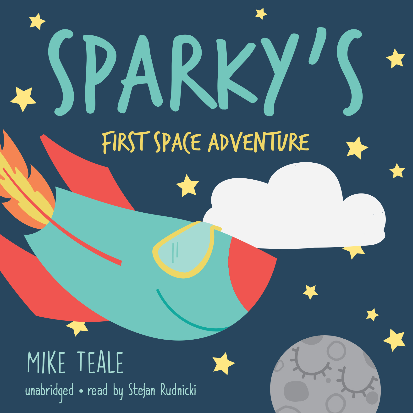 Printable Sparky's First Space Adventure Audiobook Cover Art