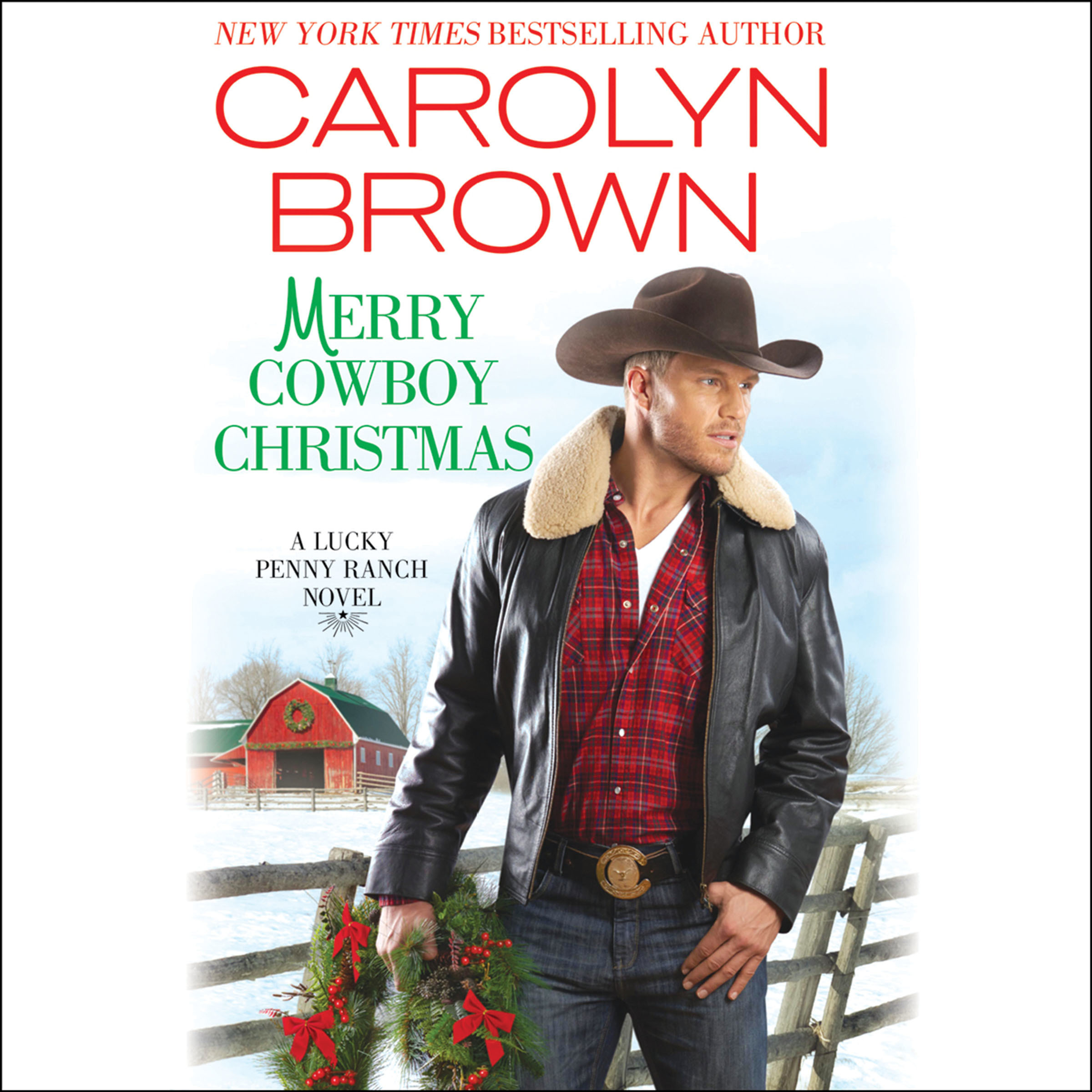 Printable Merry Cowboy Christmas Audiobook Cover Art