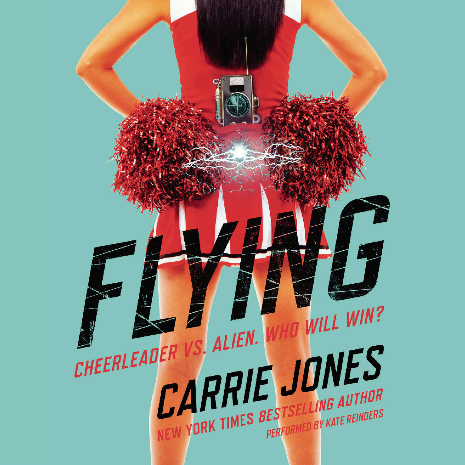 Printable Flying: Cheerleader vs. alien. Who will win? Audiobook Cover Art