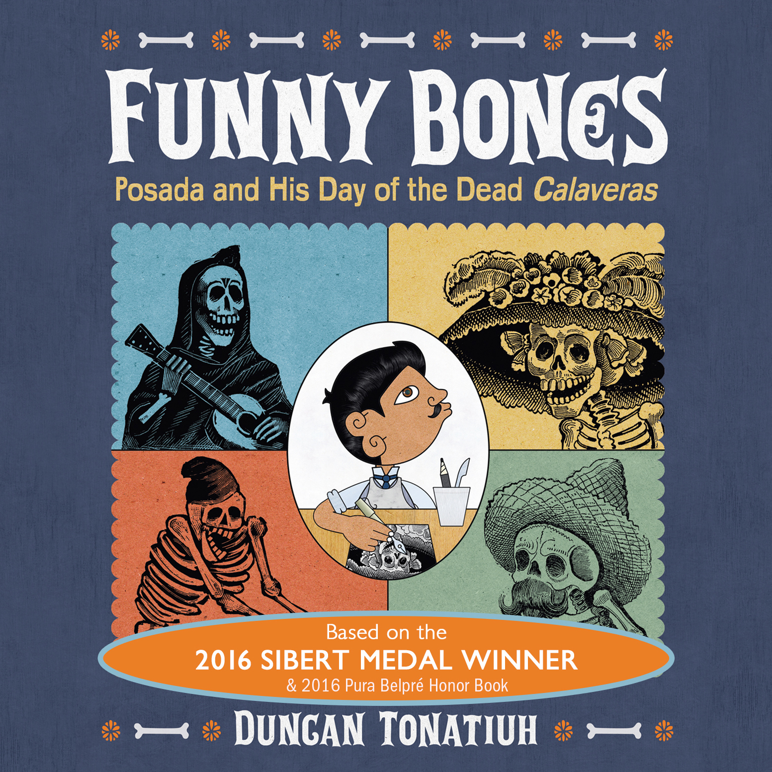 Printable Funny Bones: Posada and His Day of the dead Calaveras Audiobook Cover Art