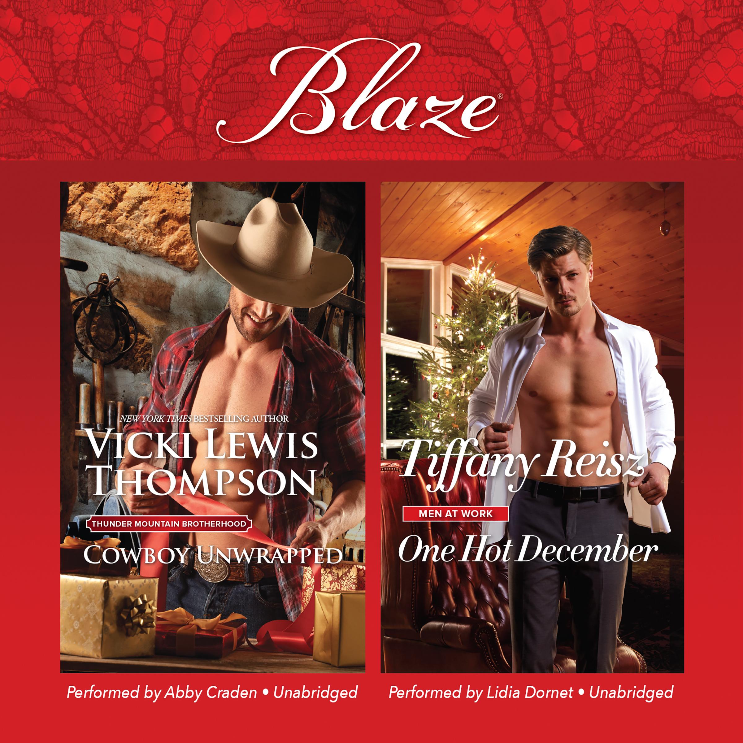Printable Cowboy Unwrapped & One Hot December Audiobook Cover Art