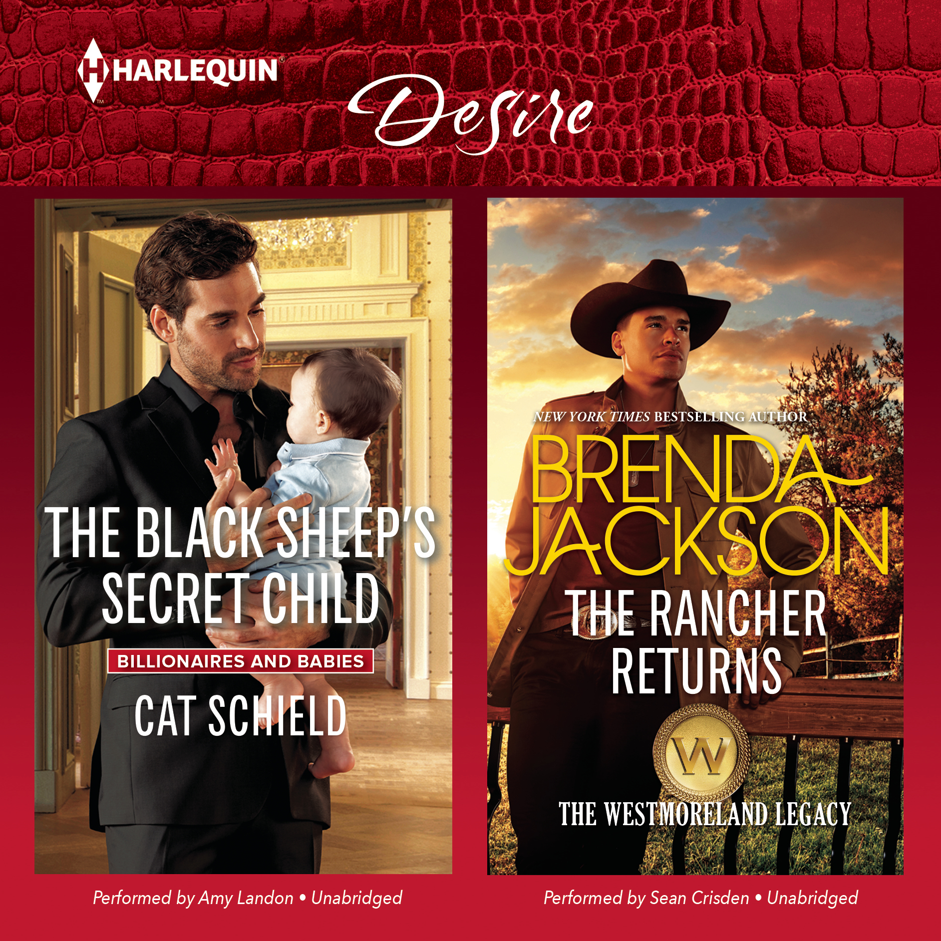 Printable The Black Sheep's Secret Child & The Rancher Returns Audiobook Cover Art