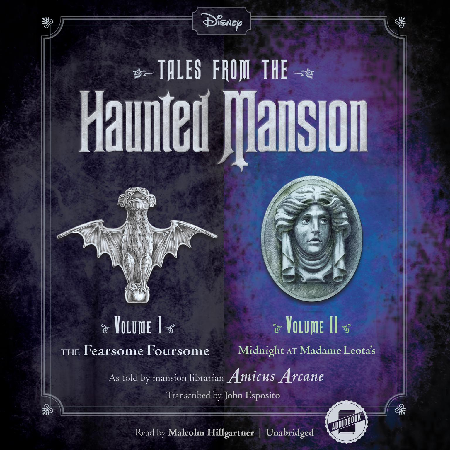 Printable Tales from the Haunted Mansion: Volumes I & II: The Fearsome Foursome and Midnight at Madame Leota's Audiobook Cover Art