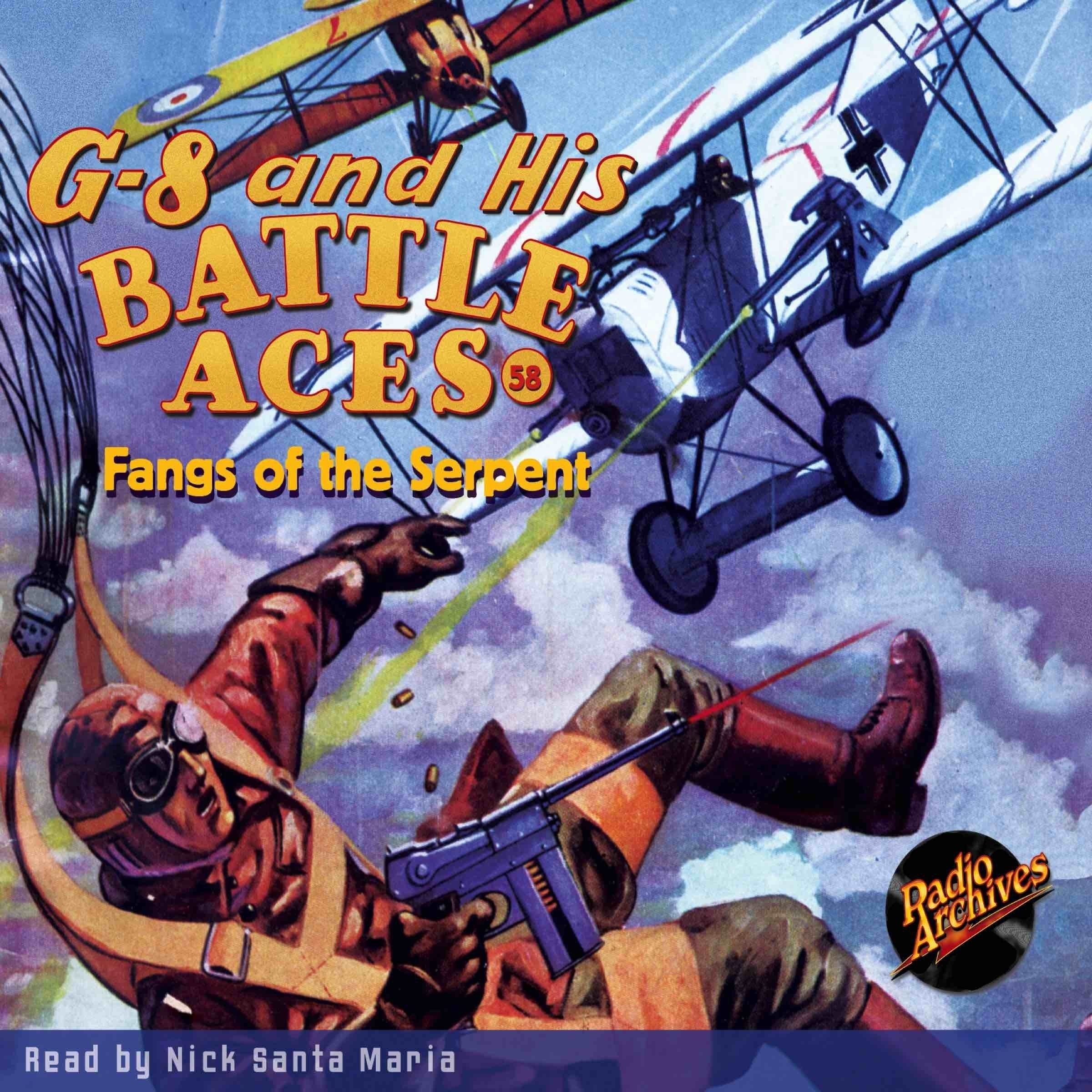 Printable G-8 and His Battle Aces #58: Fangs of the Serpent Audiobook Cover Art