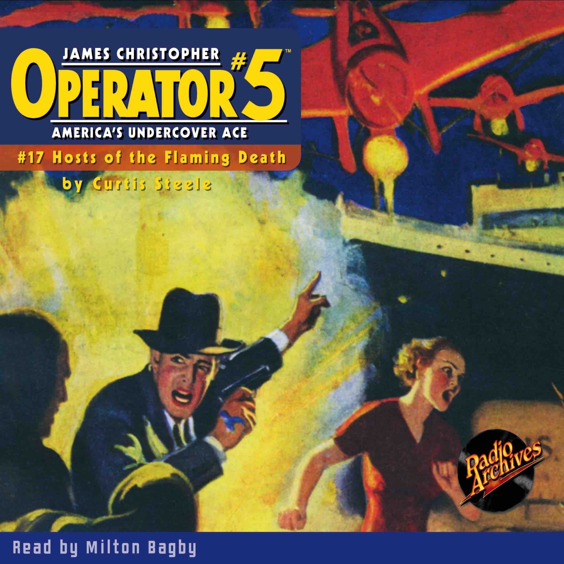 Printable Operator #5 V17: Hosts of the Flaming Death Audiobook Cover Art