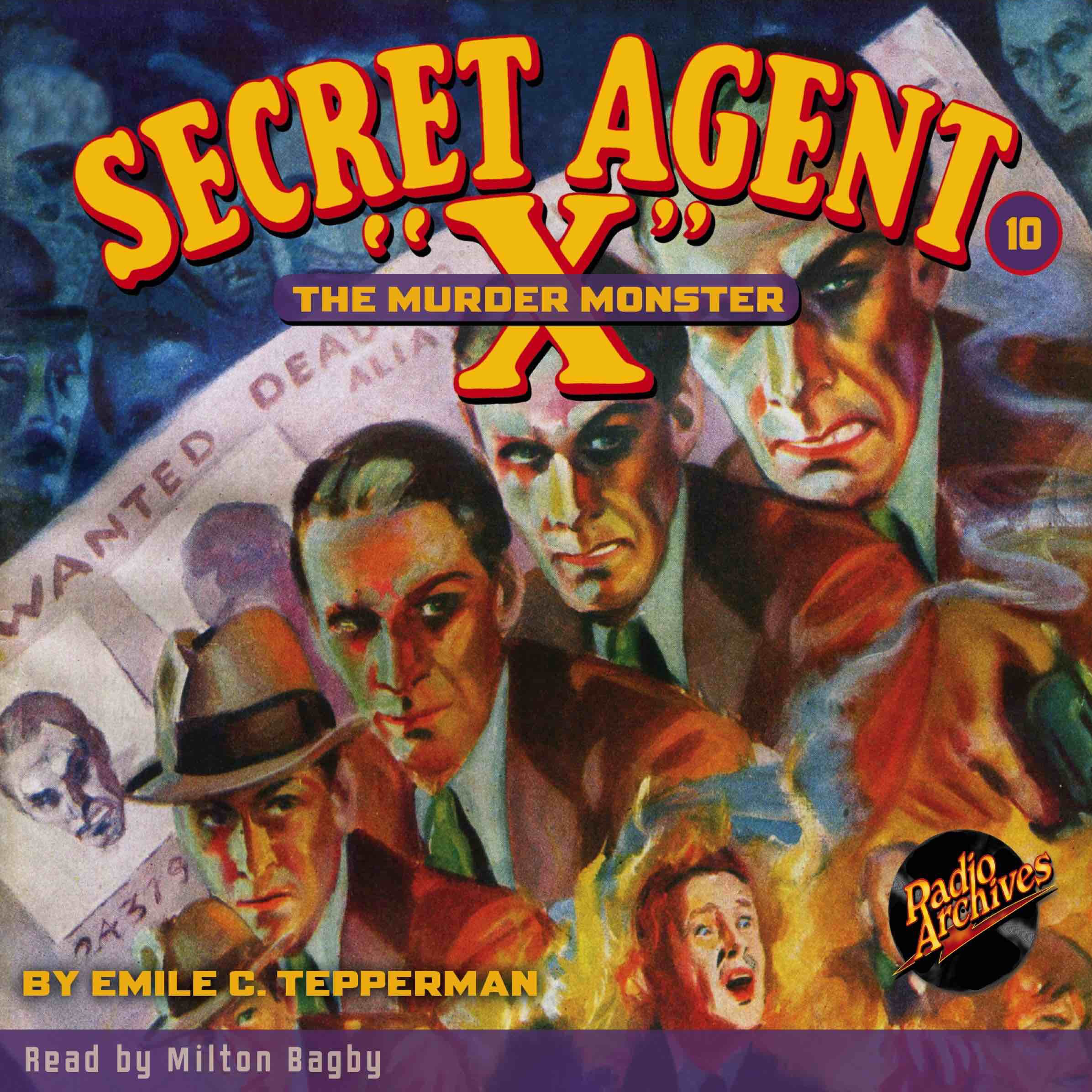 Printable Secret Agent 'X': The Murder Monster Audiobook Cover Art