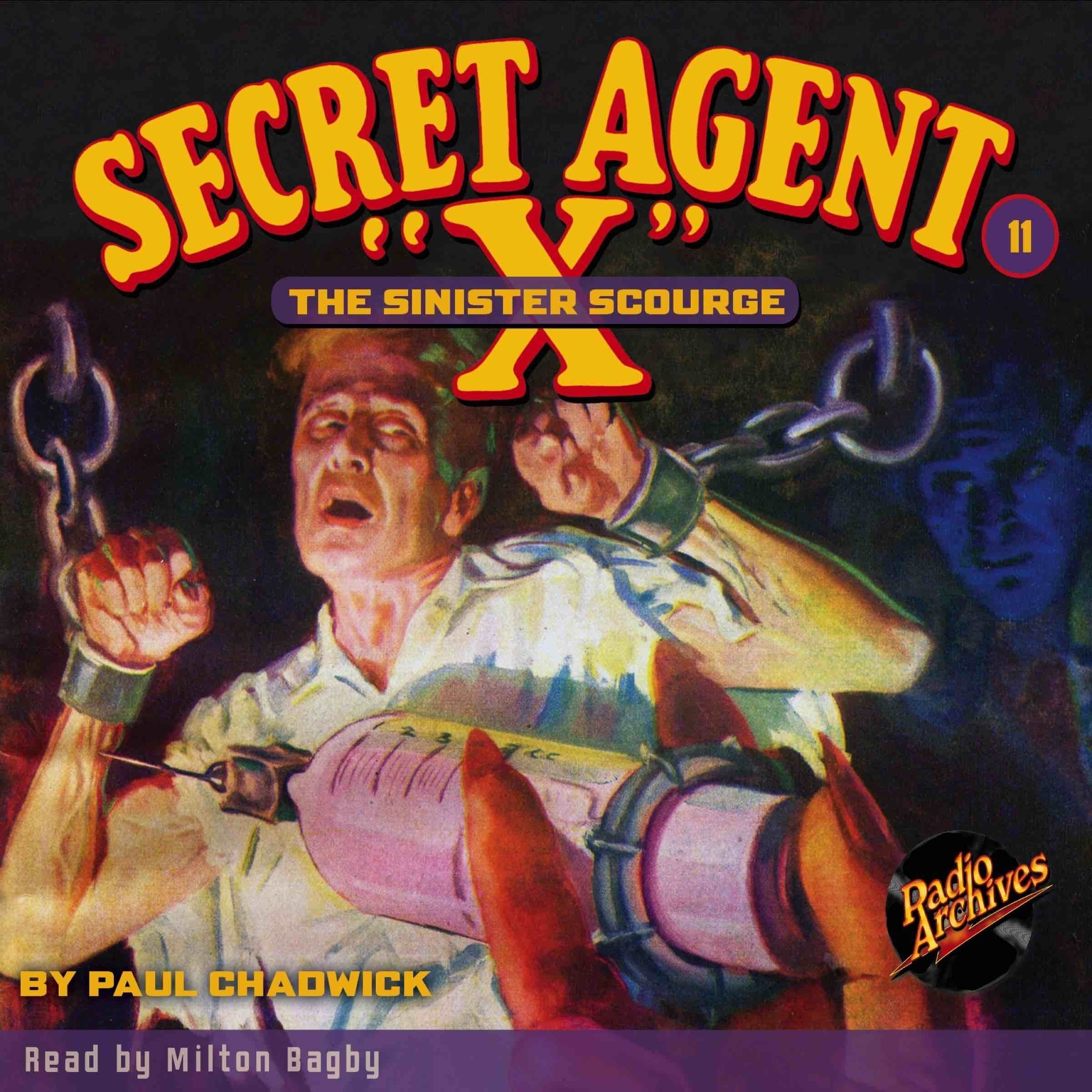 Printable Secret Agent 'X': Sinister Scourge Audiobook Cover Art